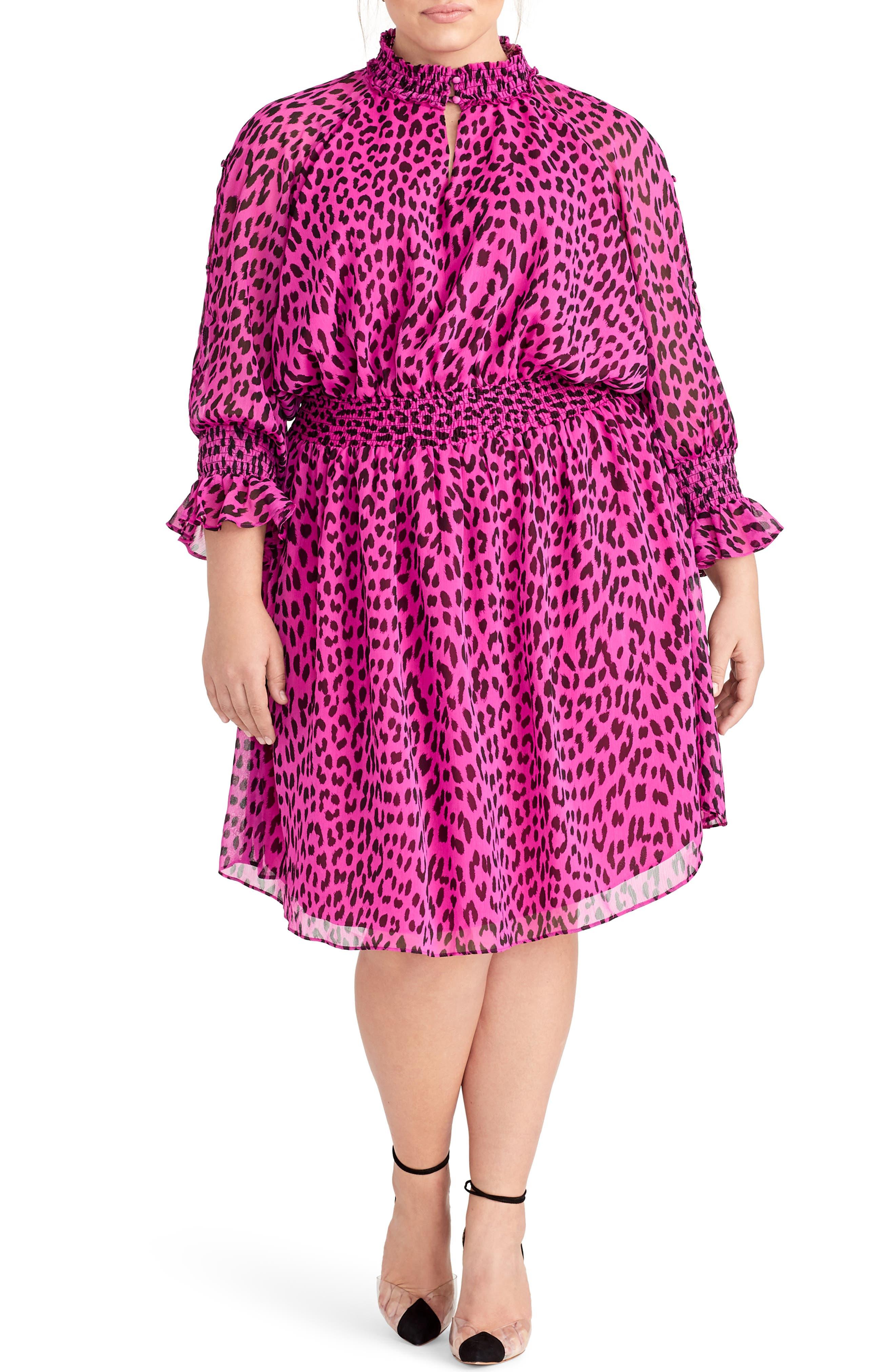 Plus Size Rachel Rachel Roy Lucky Leopard Dress, Pink
