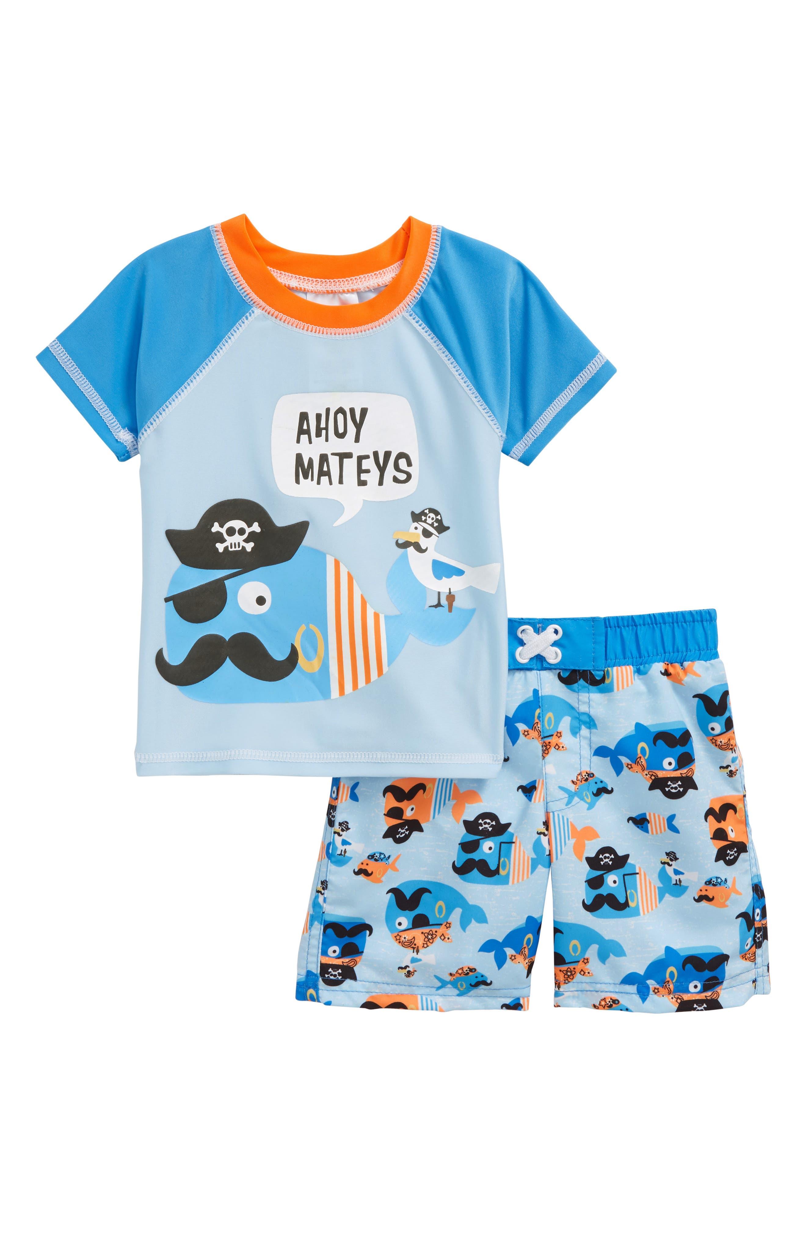 Ahoy Mateys Two-Piece Rashguard Swimsuit,                             Main thumbnail 1, color,                             499