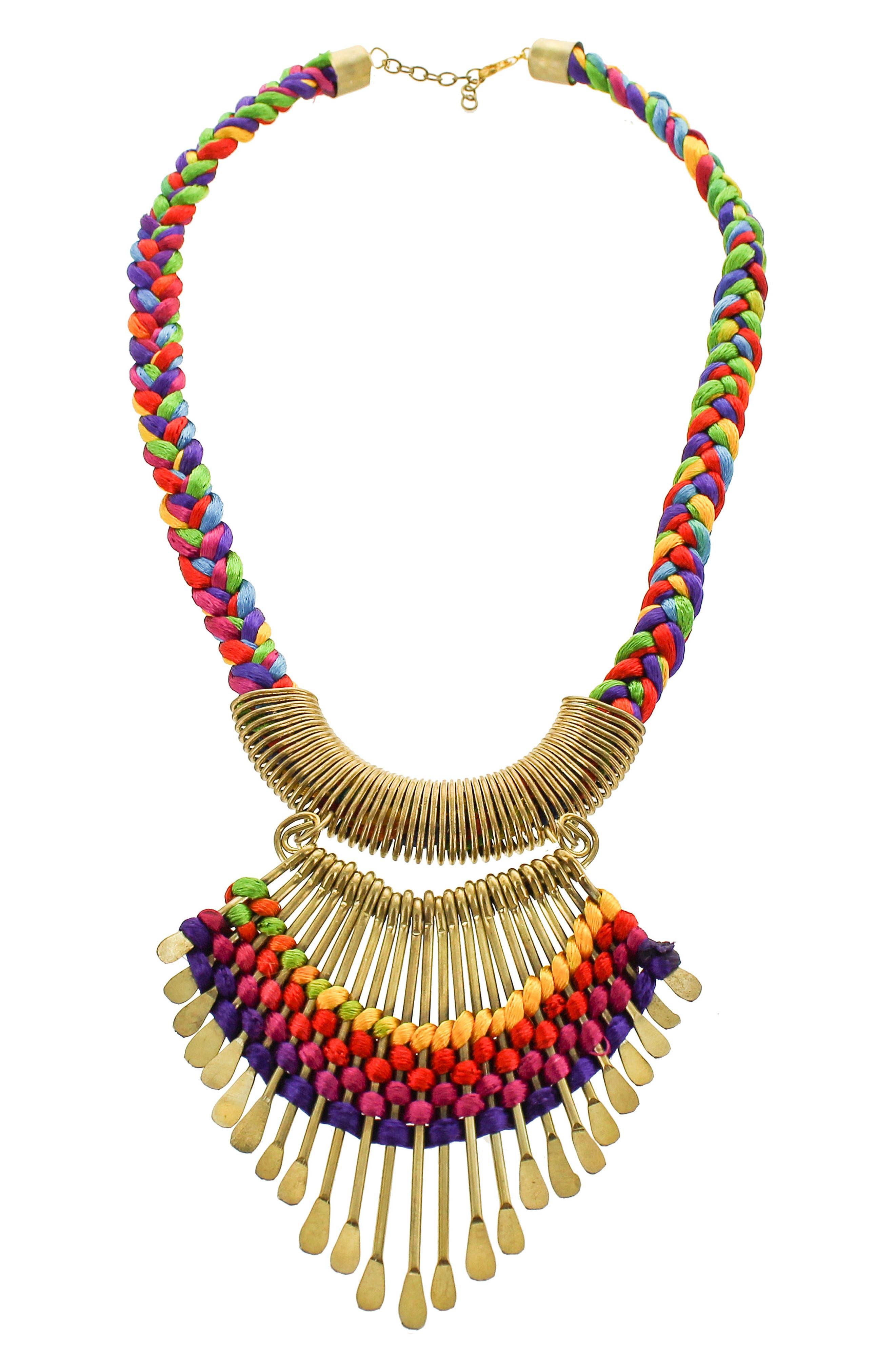 Fan Collar Necklace,                         Main,                         color, MULTI
