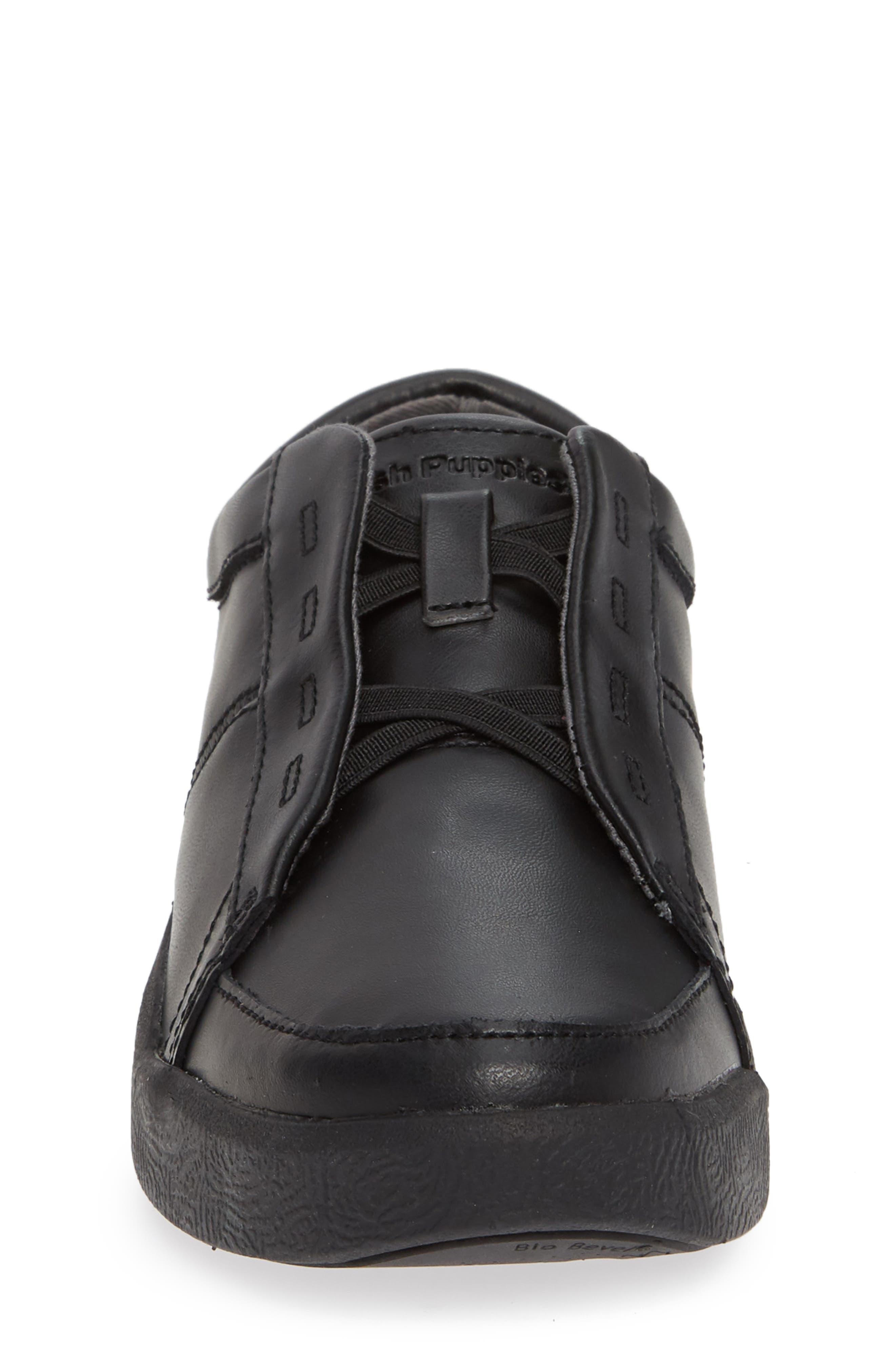 Layden Genius Leather Sneaker,                             Alternate thumbnail 4, color,                             BLACK/ BLACK