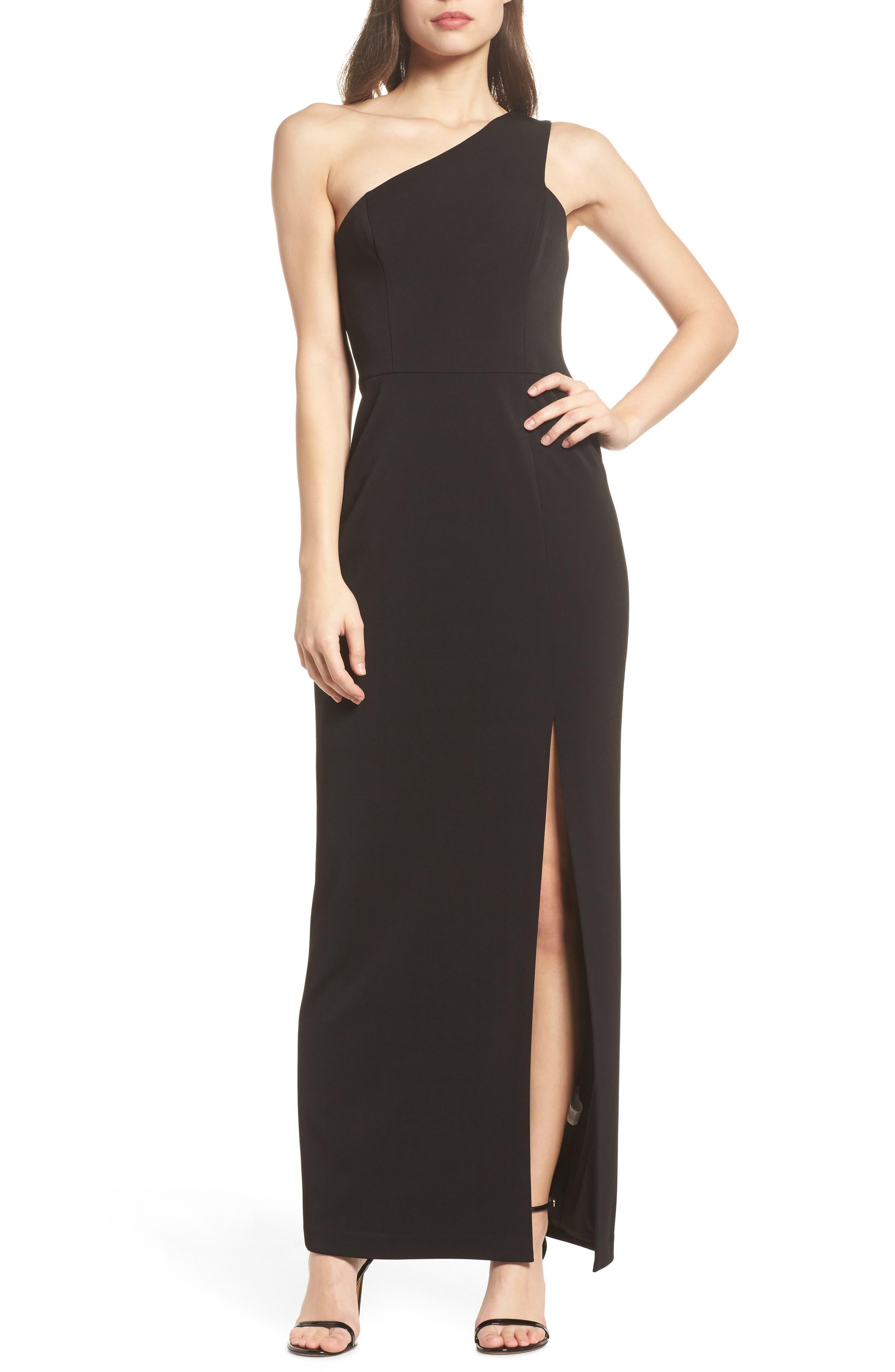One-Shoulder Crepe Column Gown,                         Main,                         color,
