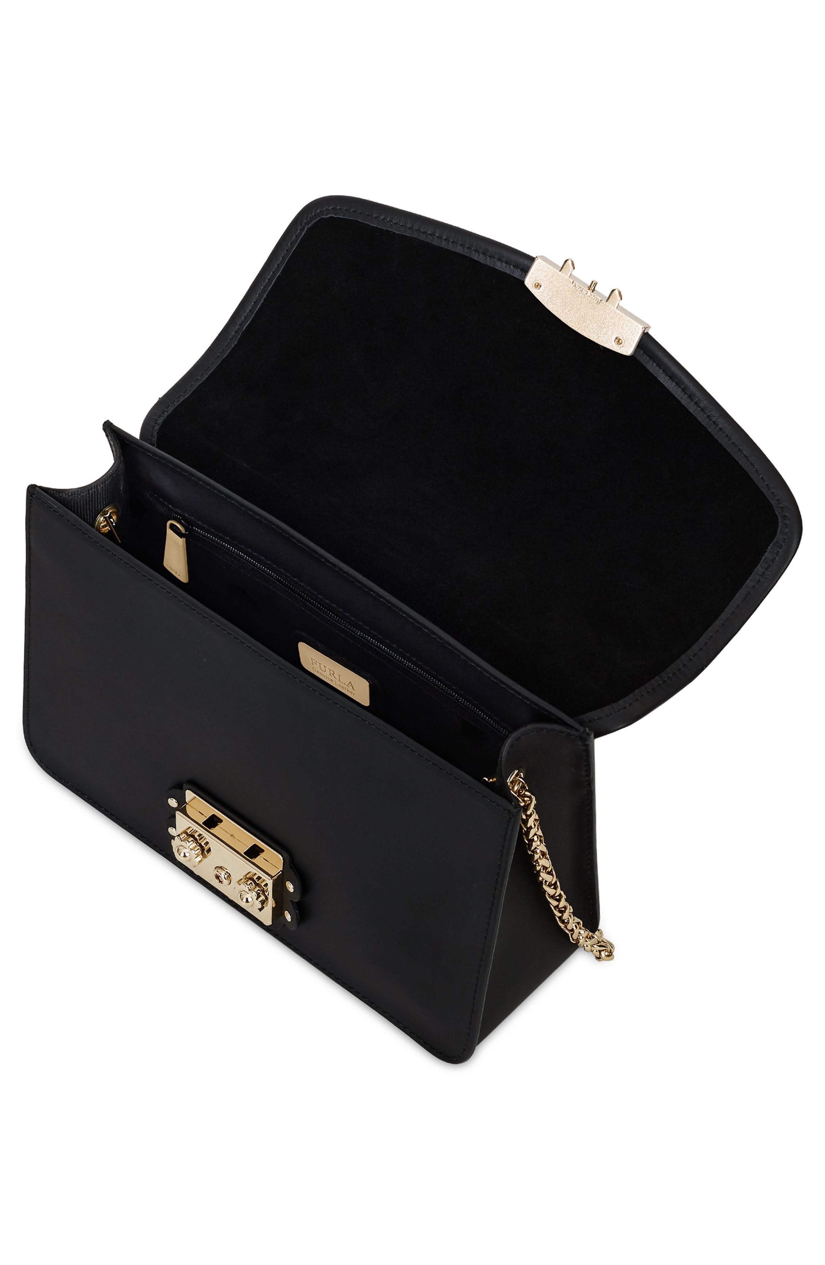 Metropolis Arabesque Leather Shoulder Bag,                             Alternate thumbnail 3, color,                             001