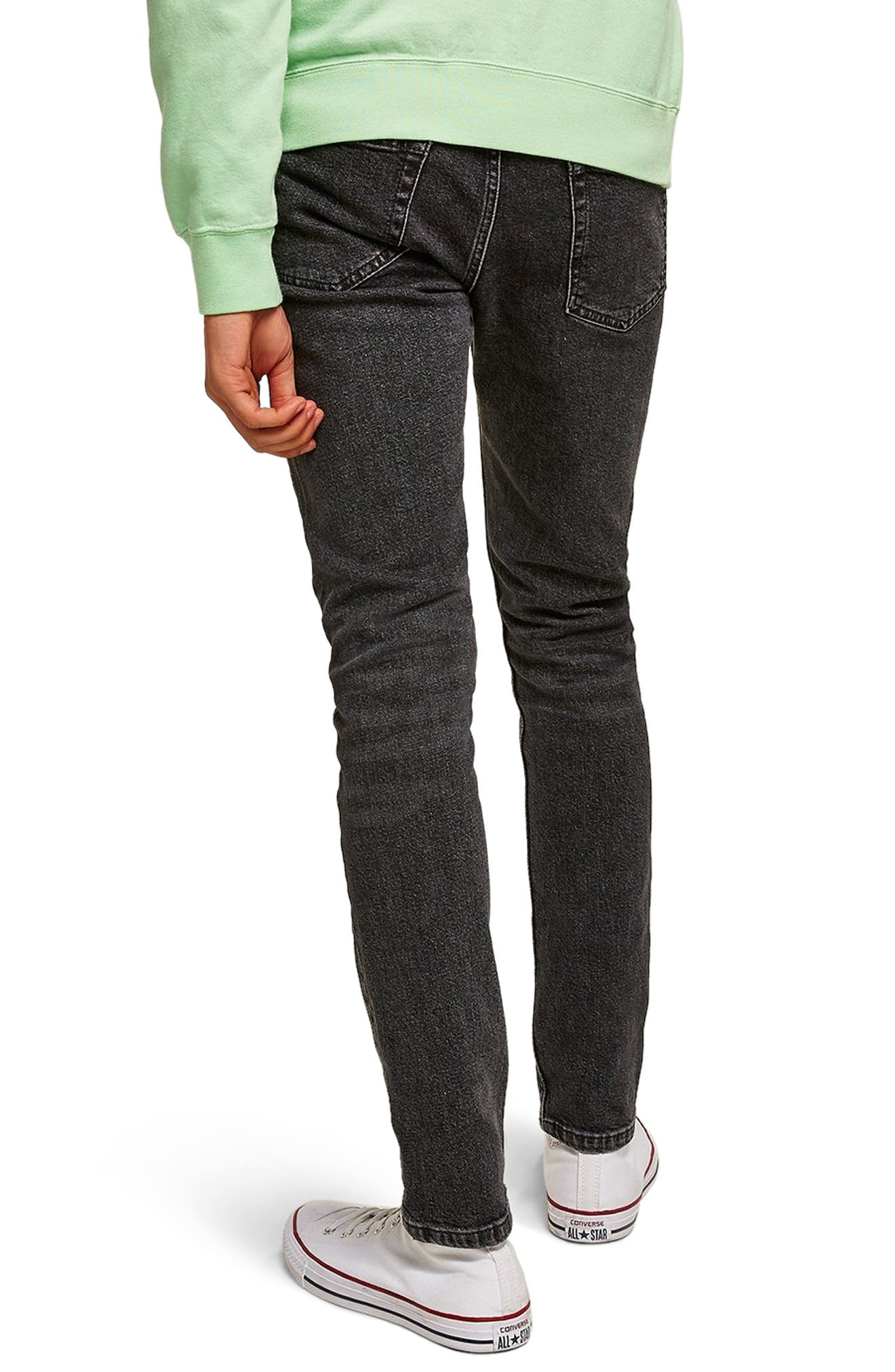 TOPMAN,                             Washed Skinny Fit Jeans,                             Alternate thumbnail 2, color,                             BLACK