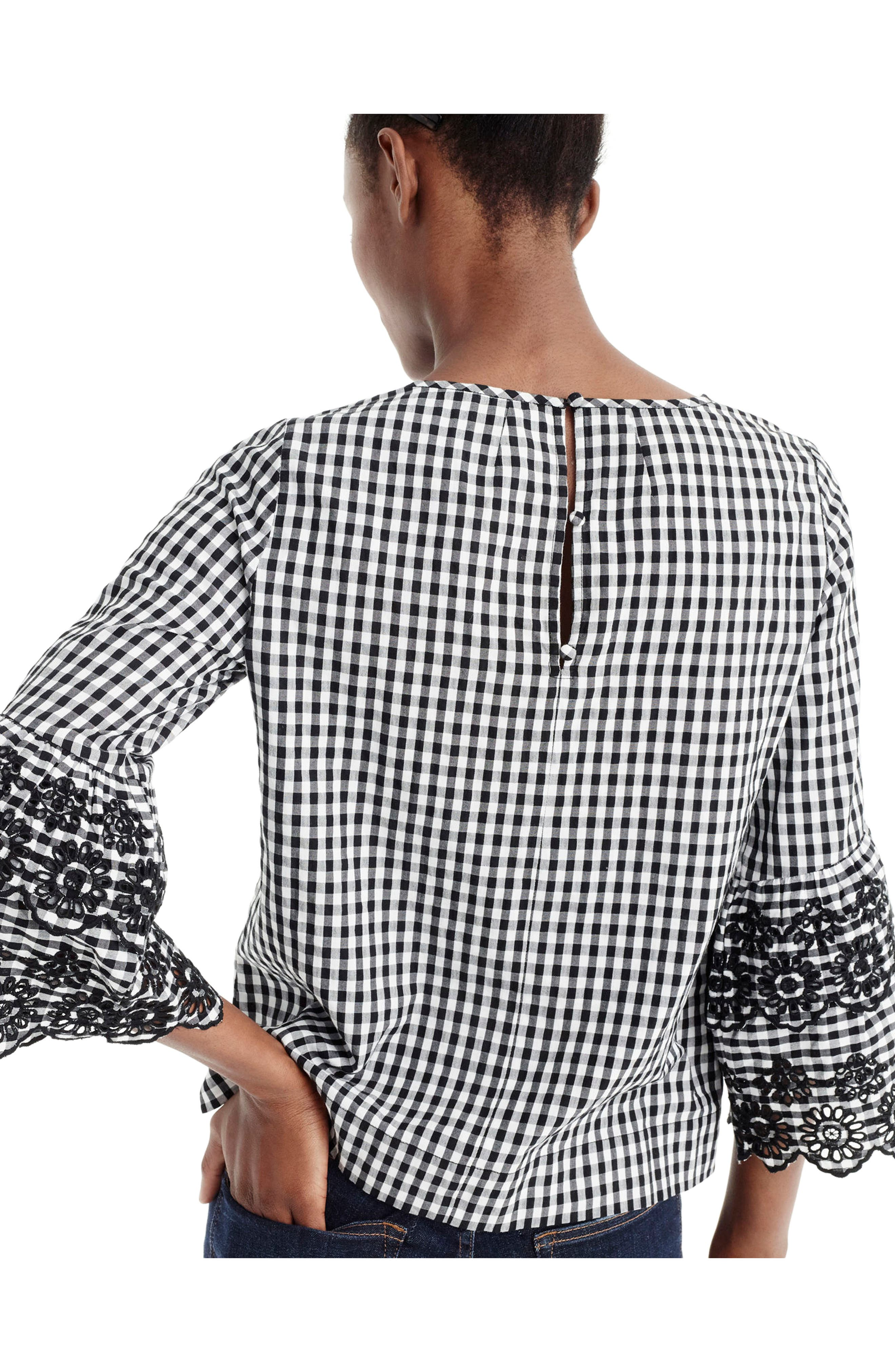 Gingham Tiered Bell Sleeve Top,                             Alternate thumbnail 2, color,