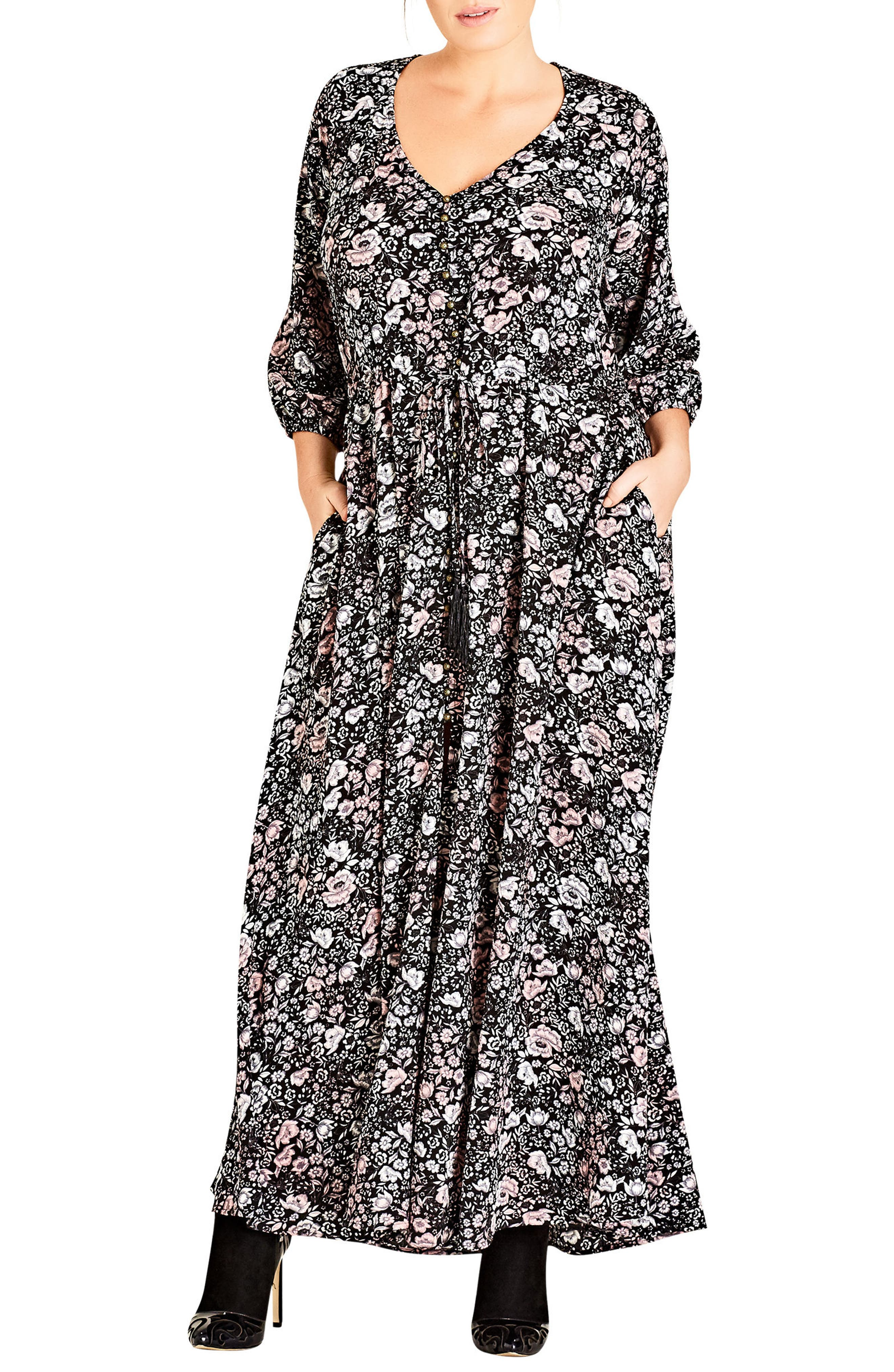 Etched Floral Maxi Dress,                             Main thumbnail 1, color,