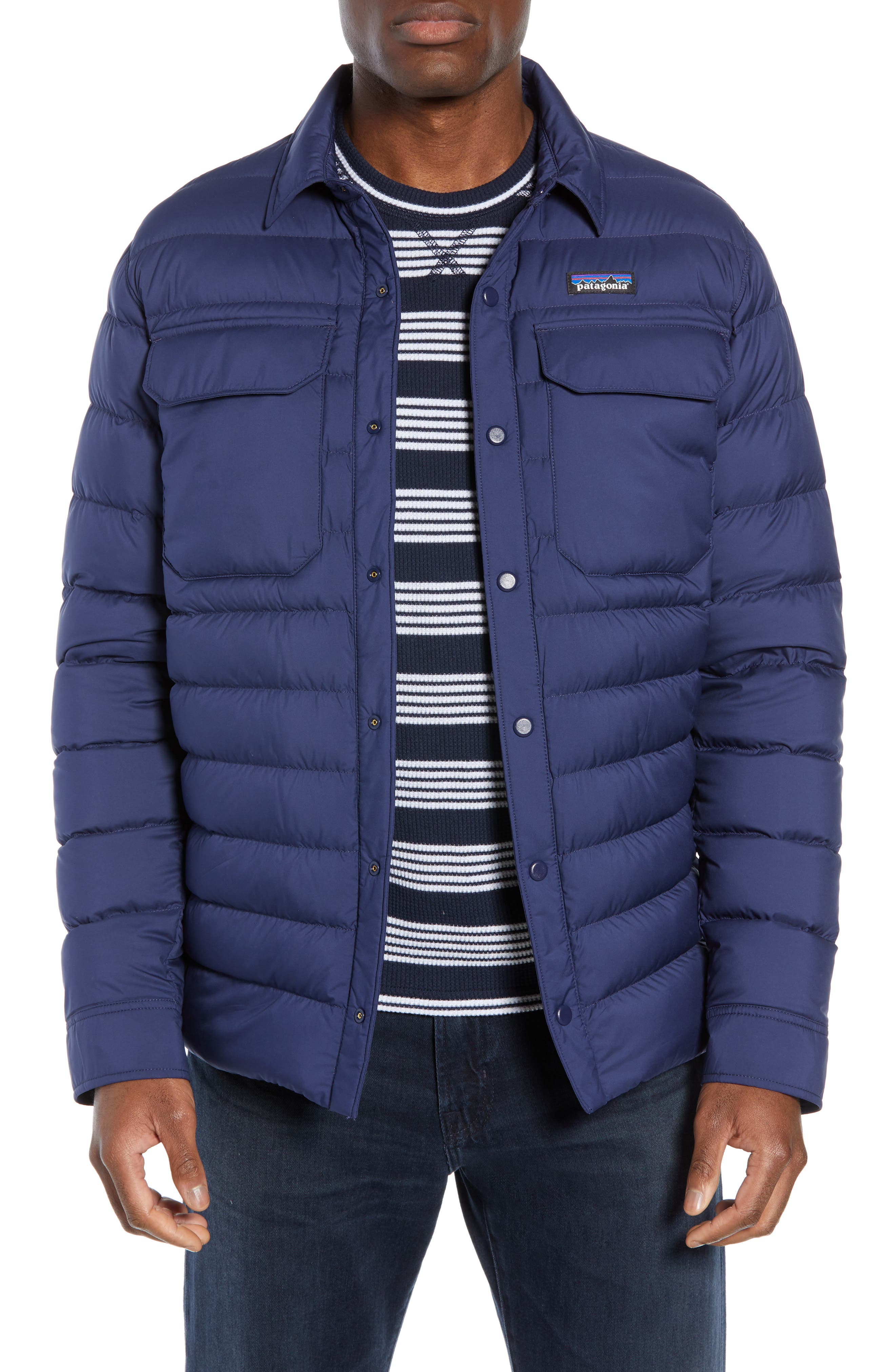 Patagonia Silent Water Repellent 700-Fill Power Down Shirt Jacket, Blue