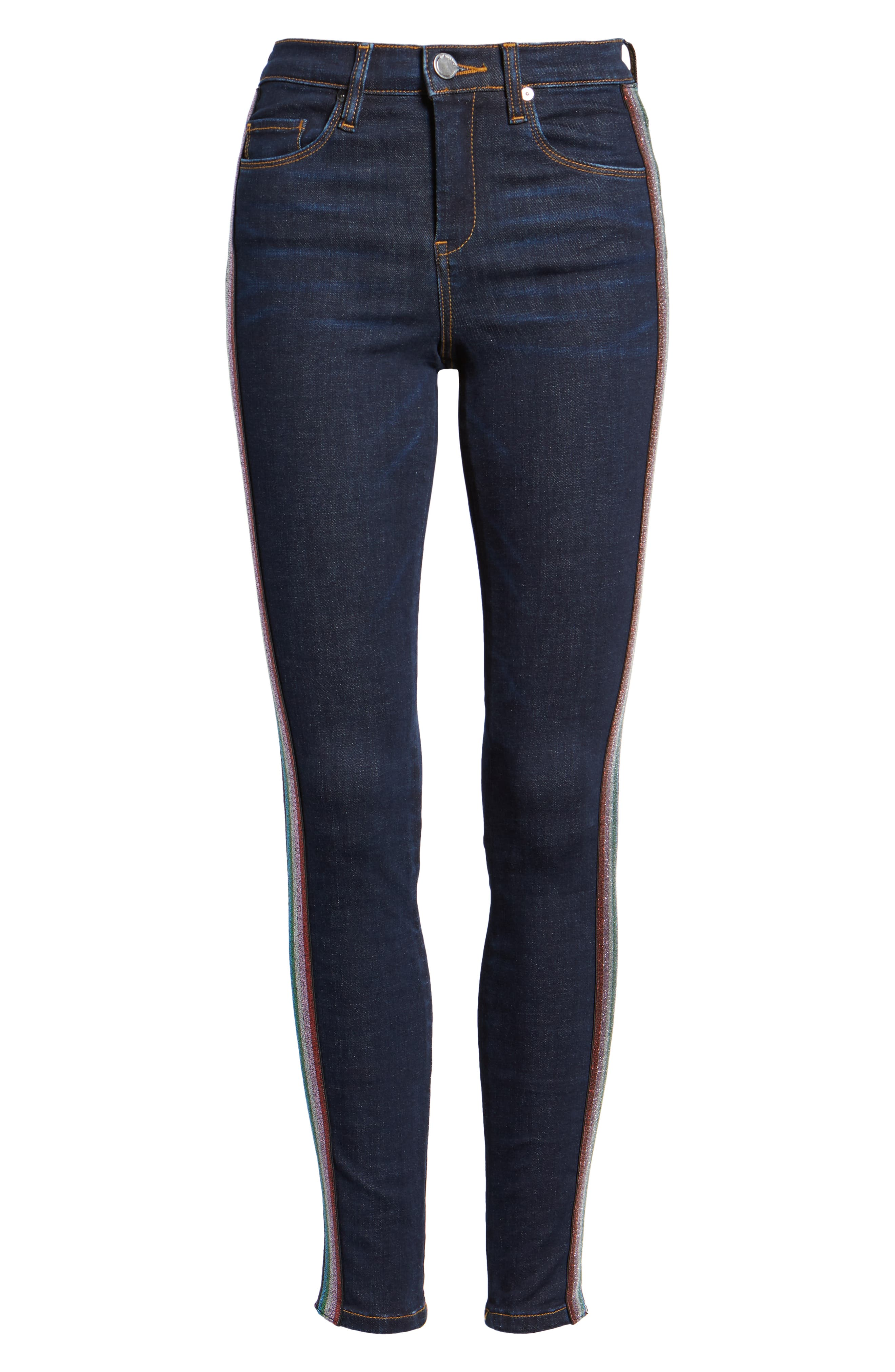 The Bond Metallic Side Stripe Skinny Jeans,                             Alternate thumbnail 7, color,                             400