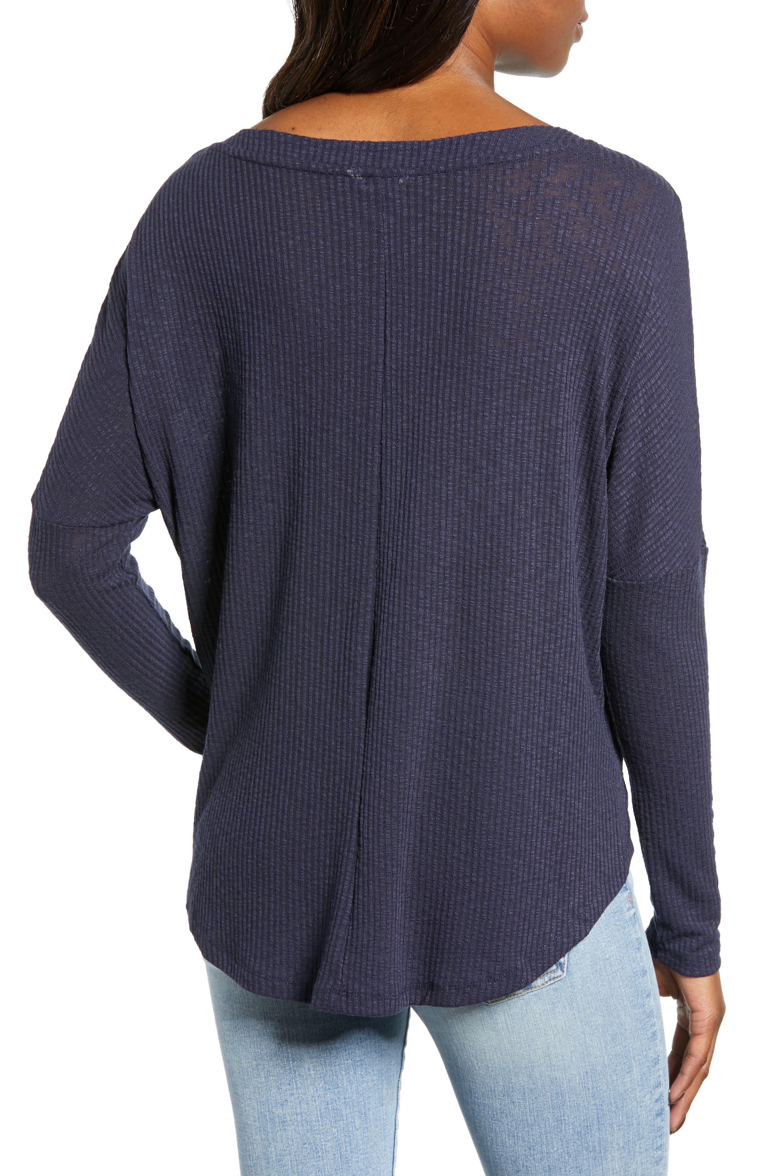 Button Front Ribbed Knit Top,                             Alternate thumbnail 2, color,                             NAVY PEACOAT