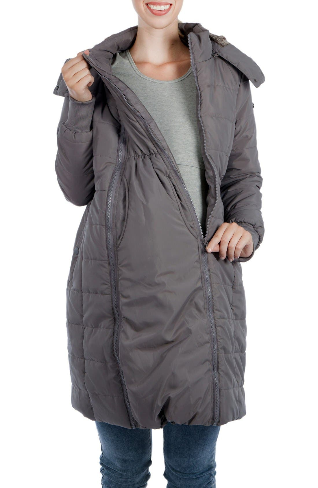 Madison Quilted 3-in-1 Maternity Puffer Coat with Faux Fur Trim,                         Main,                         color, GREY