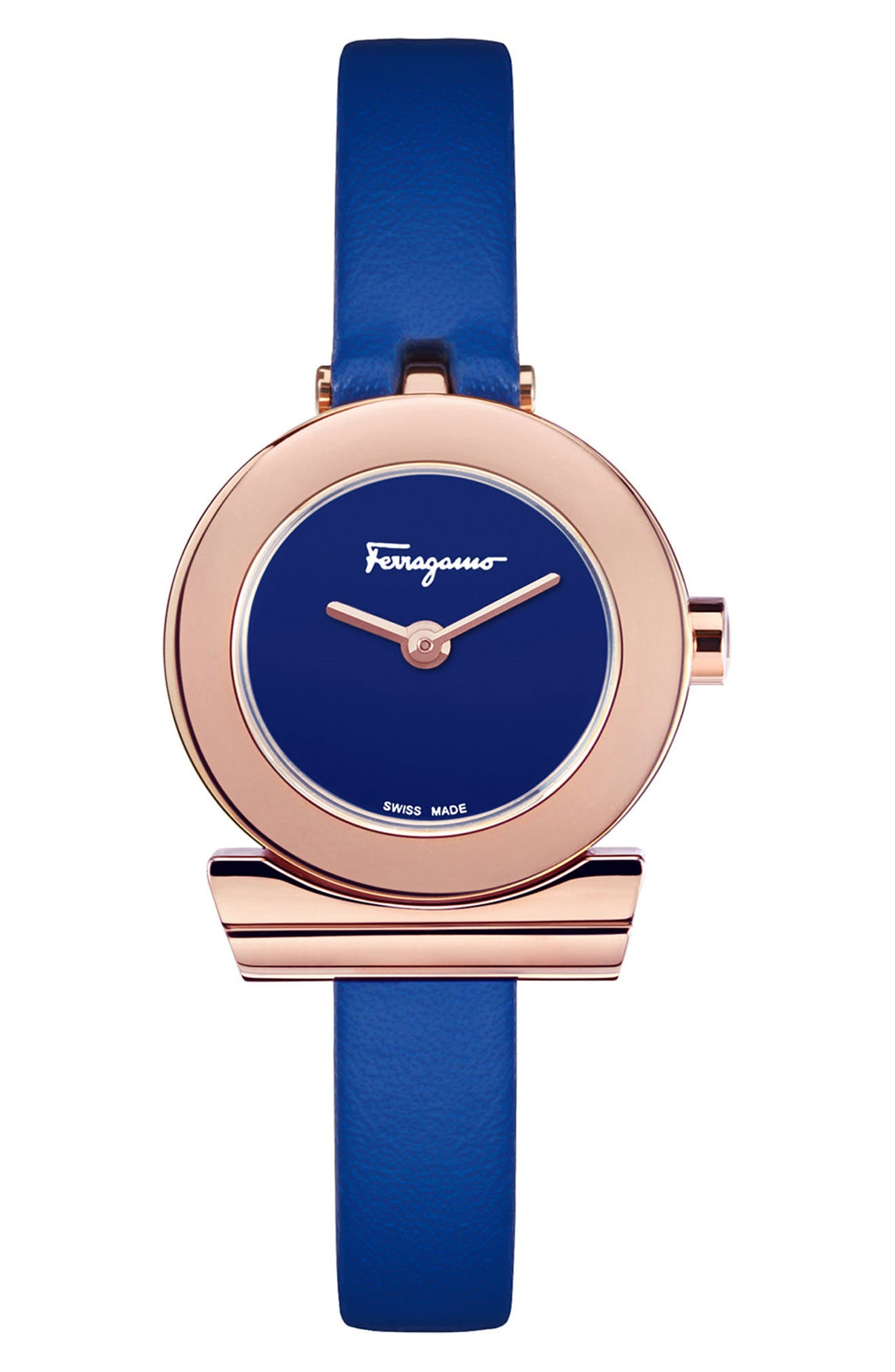 Gancino Leather Strap Watch, 22mm,                         Main,                         color, BLUE/ ROSE GOLD