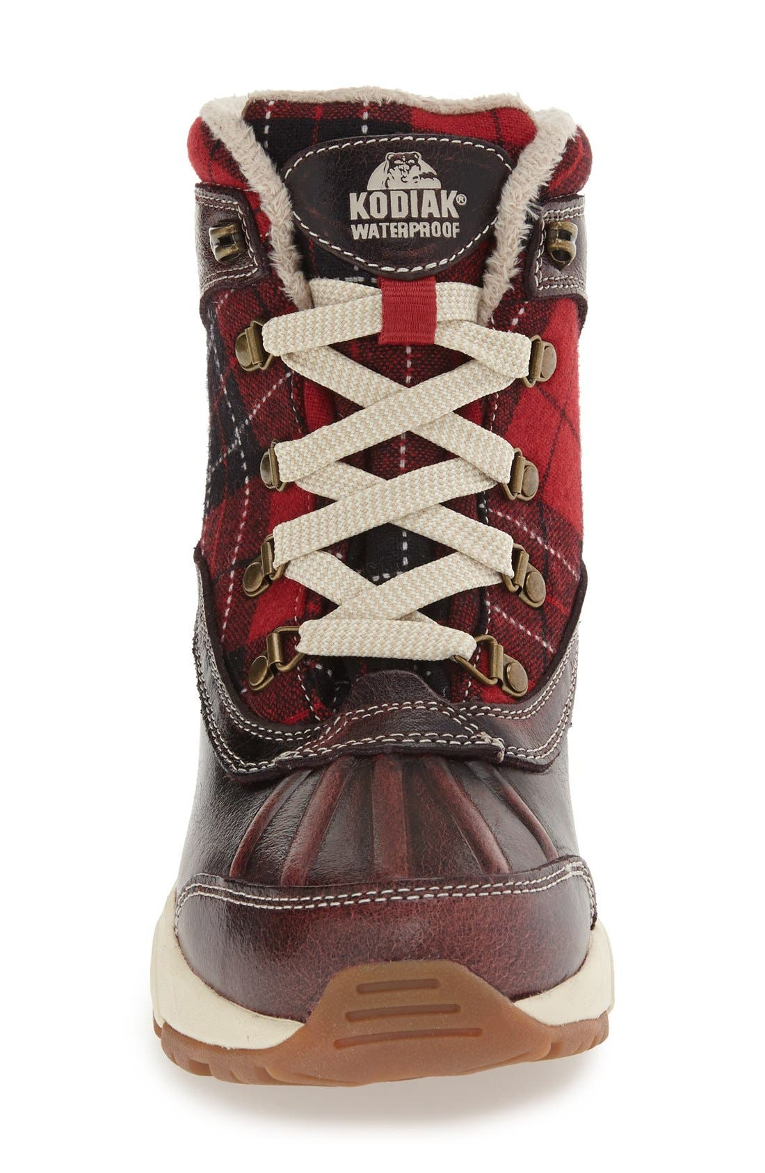 Rochelle Waterproof Insulated Winter Boot,                             Alternate thumbnail 3, color,                             RED PLAID LEATHER