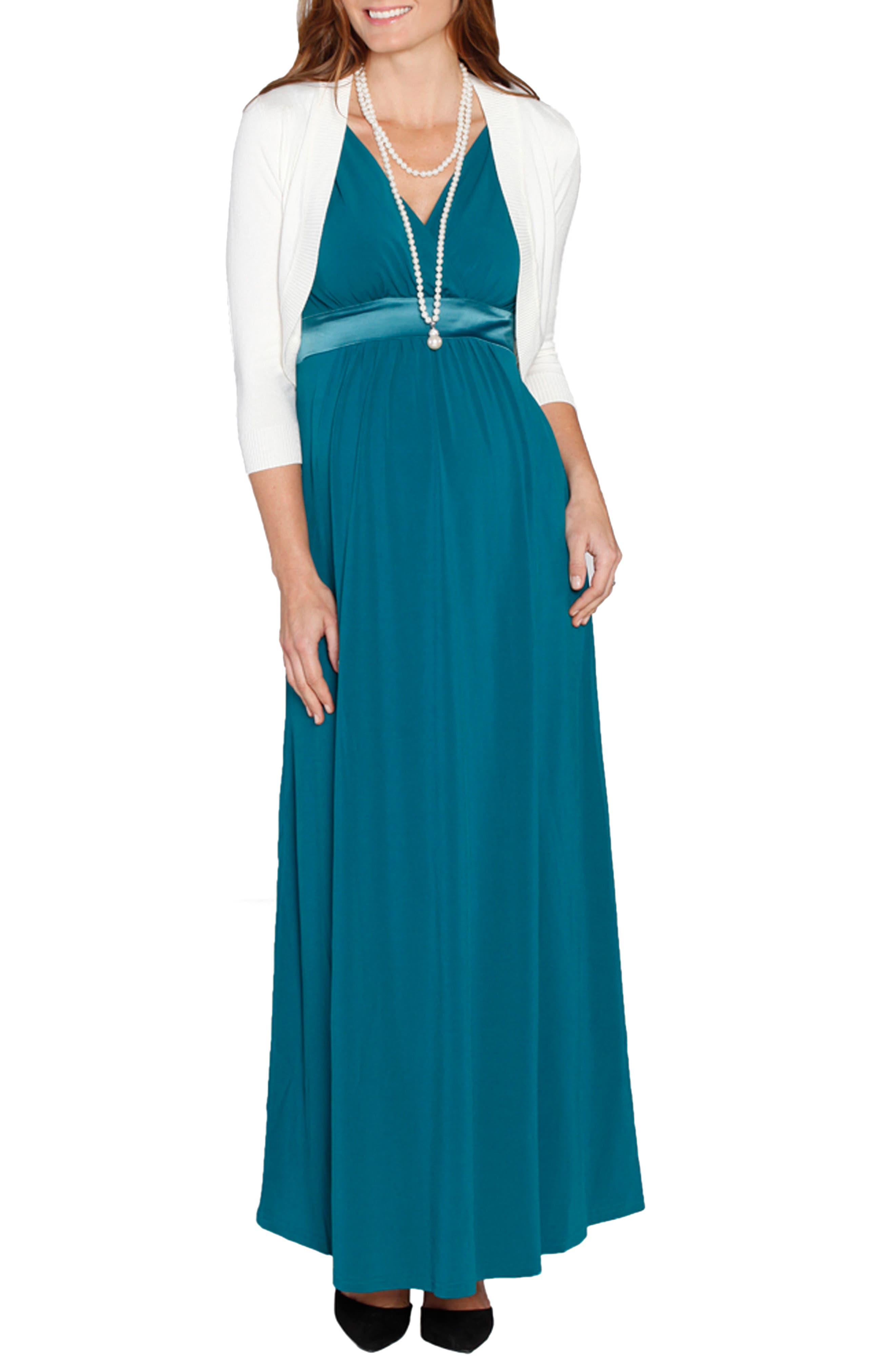 Angel Tie Waist Sleeveless Maternity/Nursing Gown & Bolero,                         Main,                         color, 440