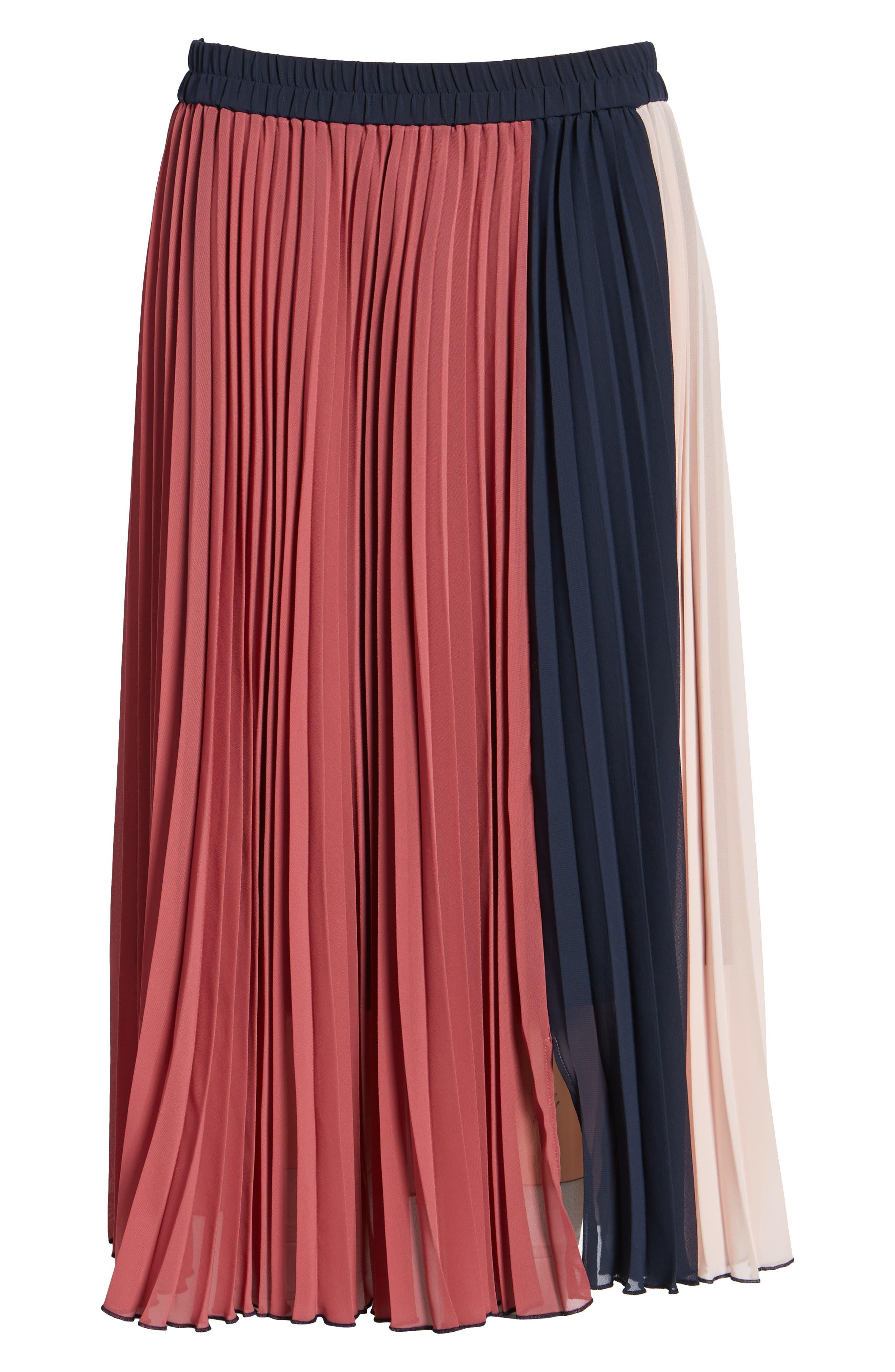 x Atlantic-Pacific Colorblock Pleated Midi Skirt,                             Alternate thumbnail 7, color,                             PINK- NAVY COLORBLOCK