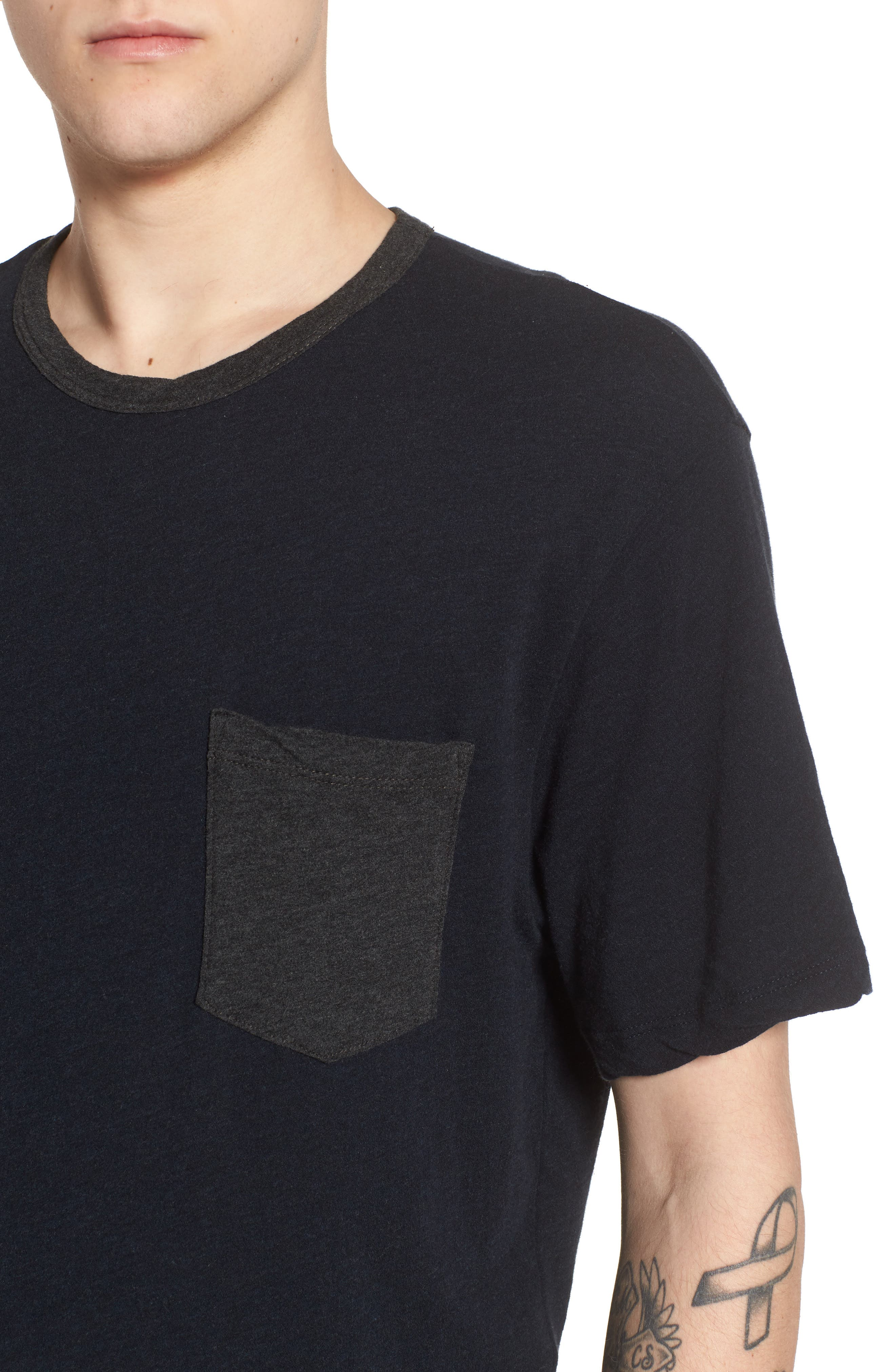 JAMES PERSE,                             Two-Tone Pocket T-Shirt,                             Alternate thumbnail 4, color,                             001