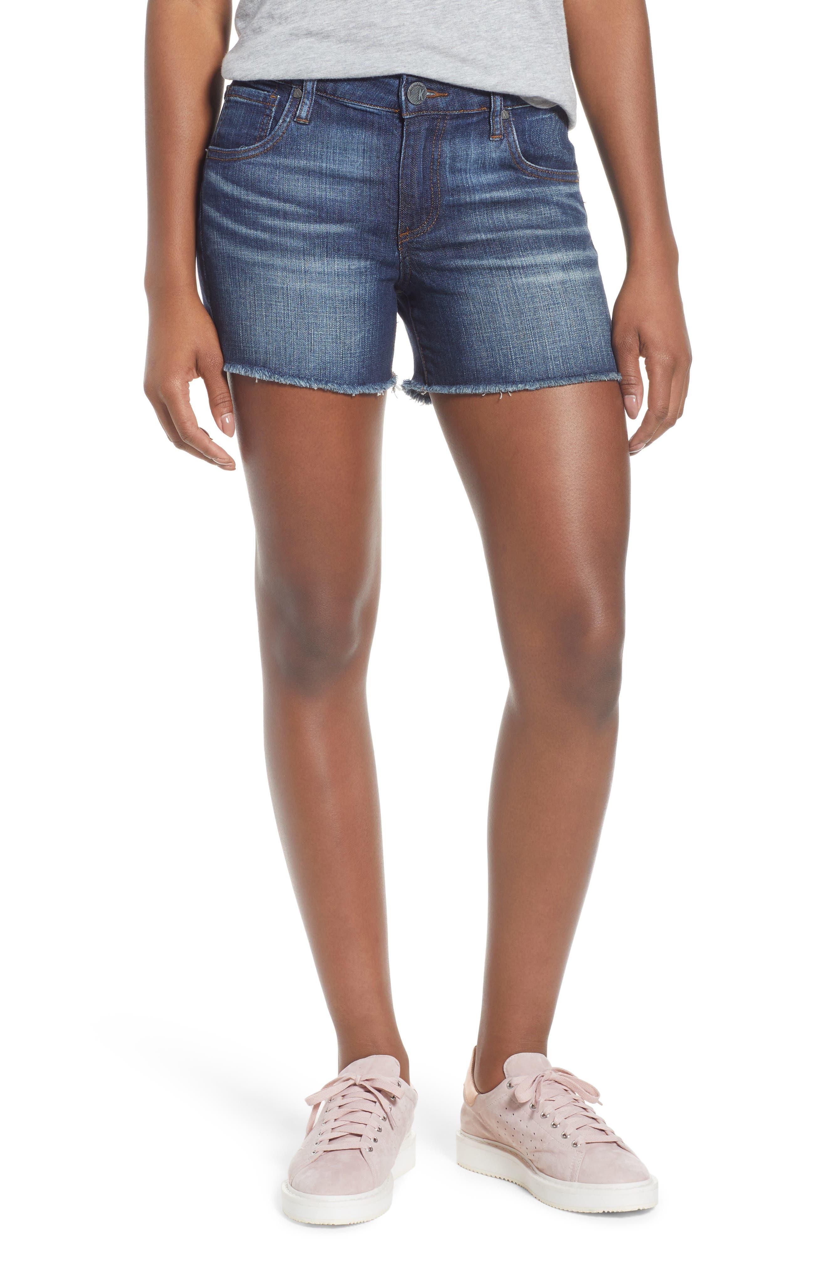KUT Kollection Gidget Cutoff Denim Shorts,                         Main,                         color, 400