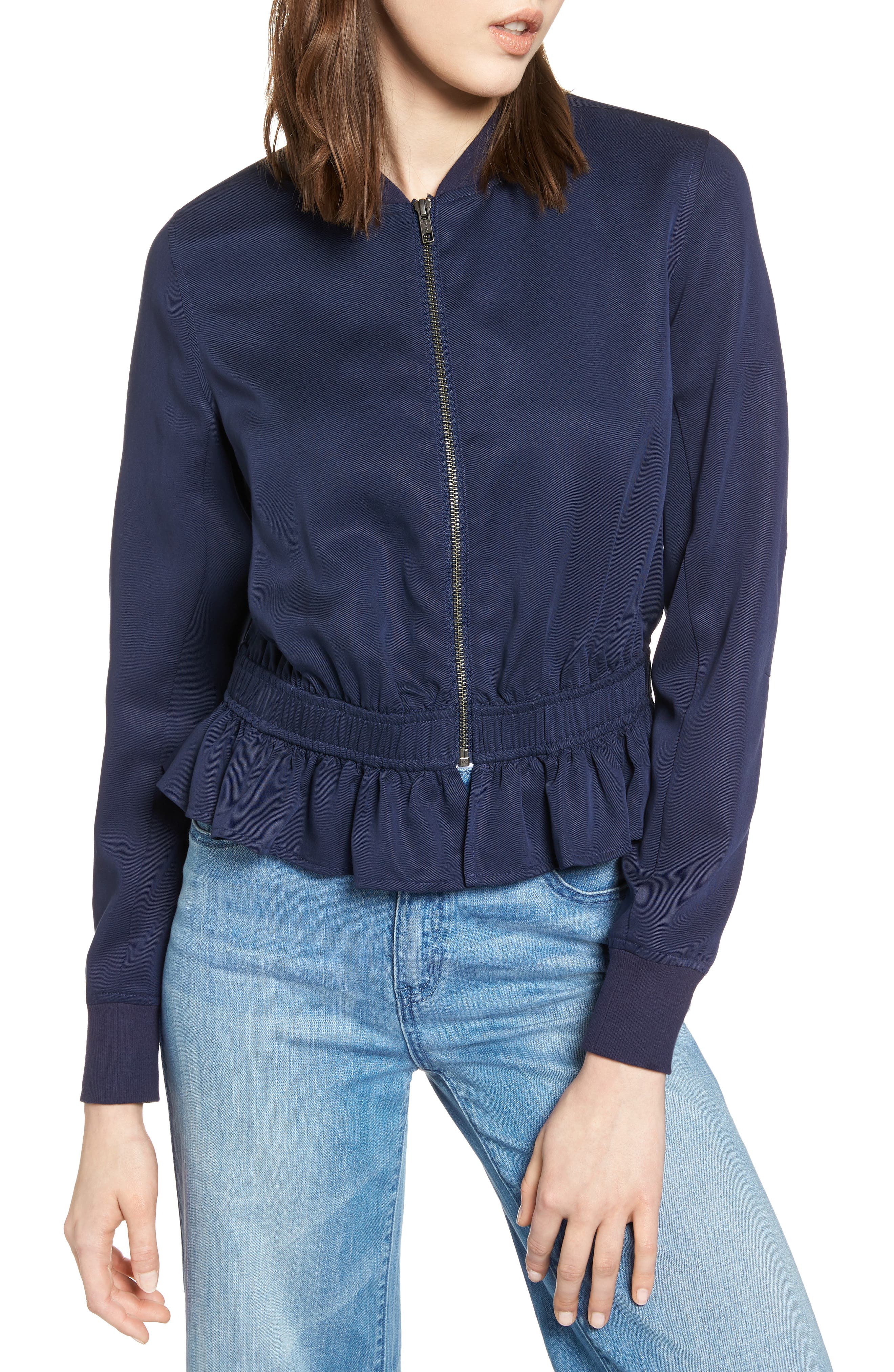 Ruffle Hem Zip Front Jacket,                             Alternate thumbnail 4, color,