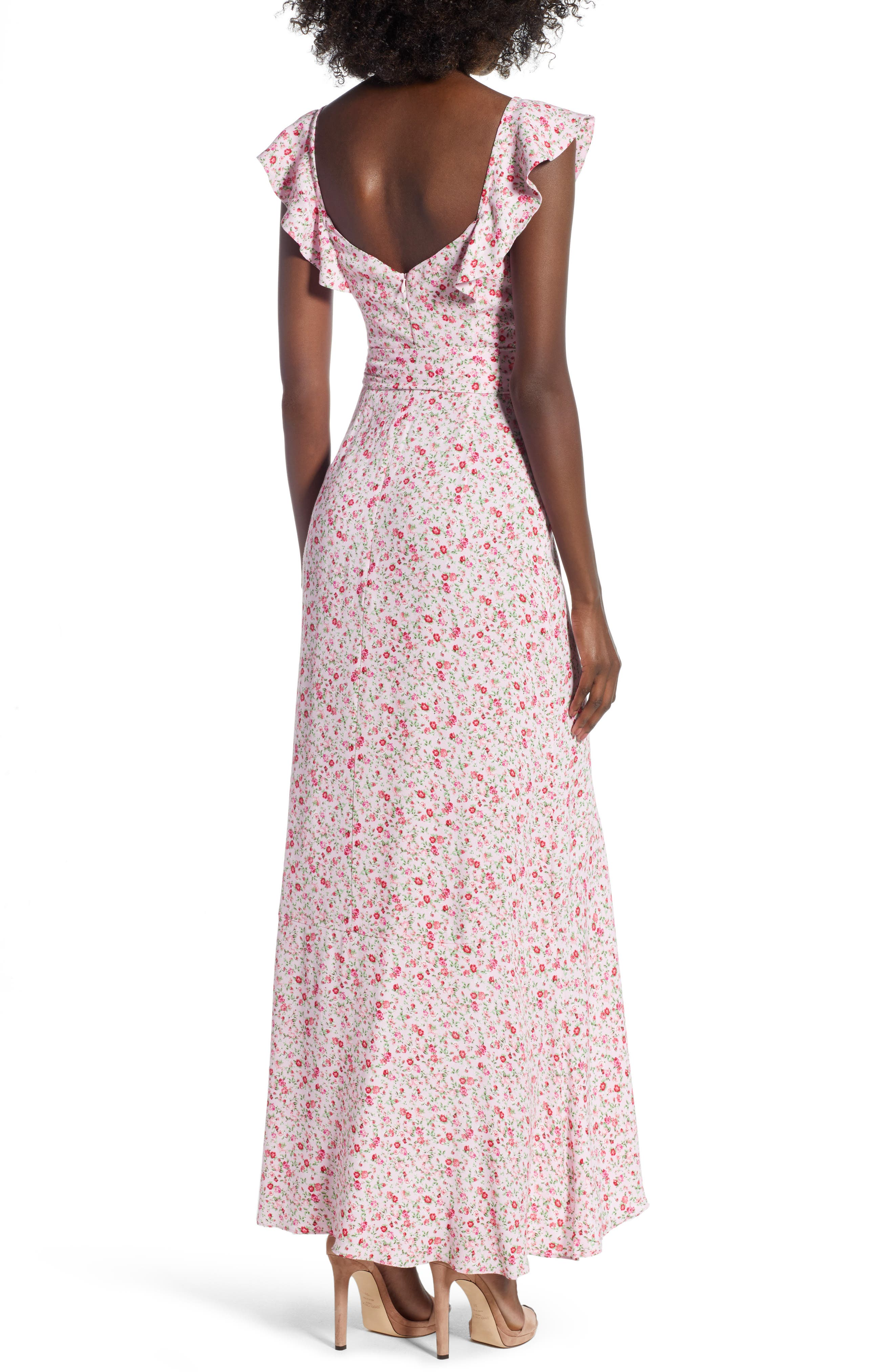 Lucie Maxi Dress,                             Alternate thumbnail 2, color,                             BABY PINK DITSY
