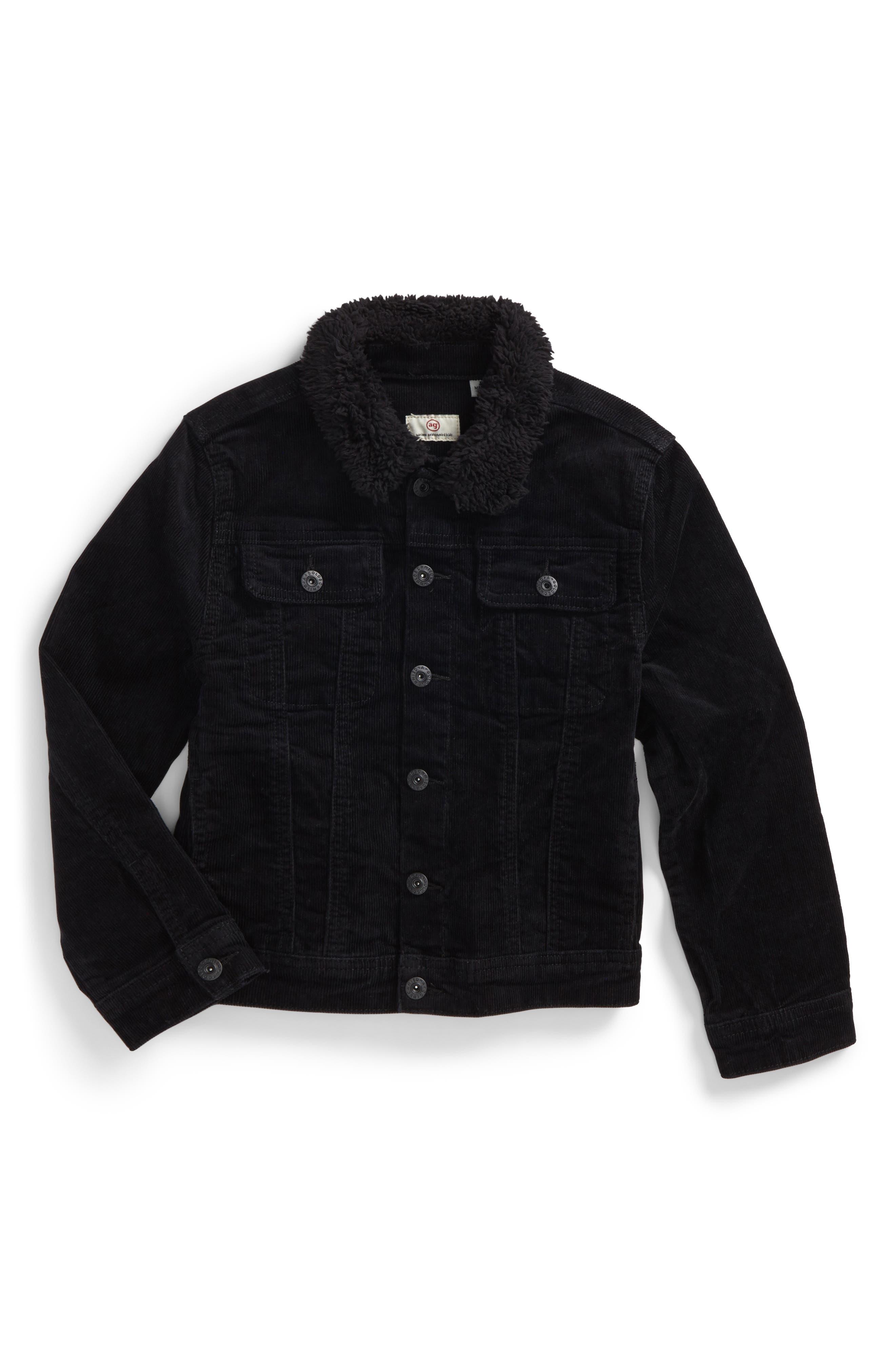 Brody Plush Collar Corduroy Jacket Collar,                             Main thumbnail 1, color,                             001