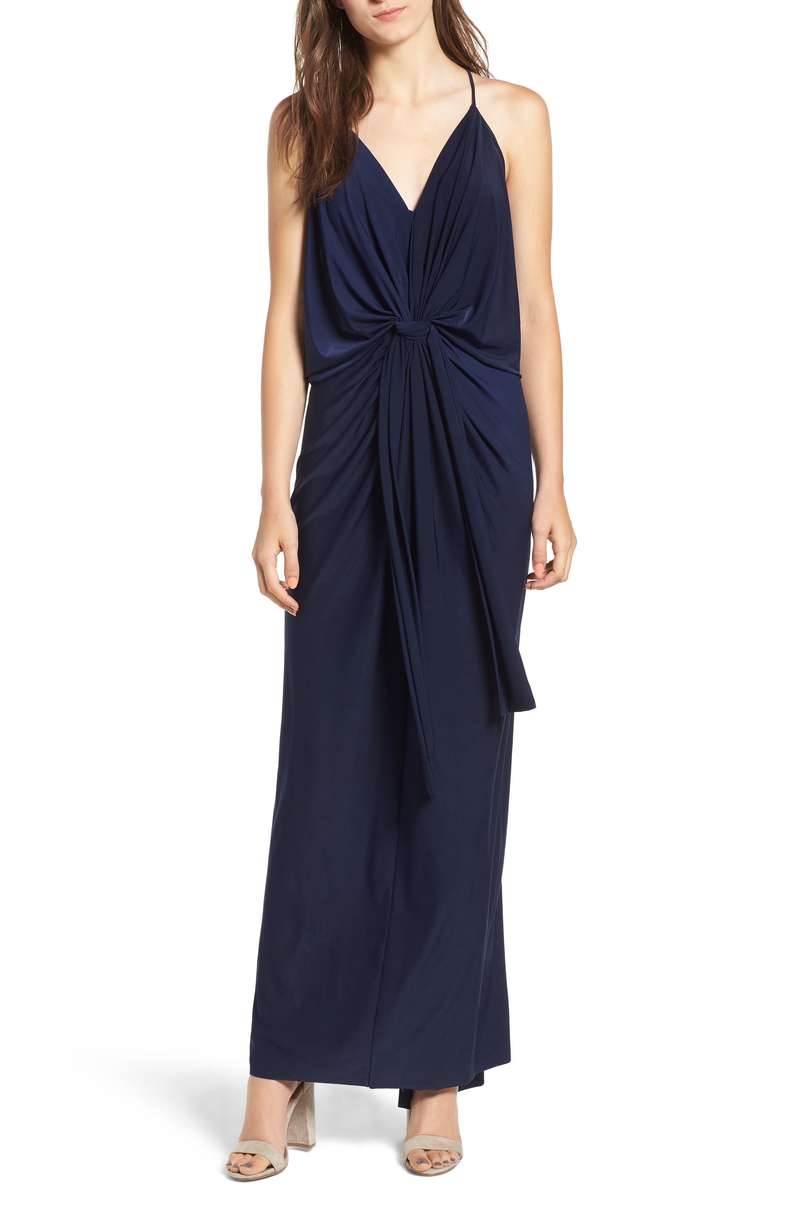 Domino Knot Maxi Dress,                         Main,                         color, MIDNIGHT