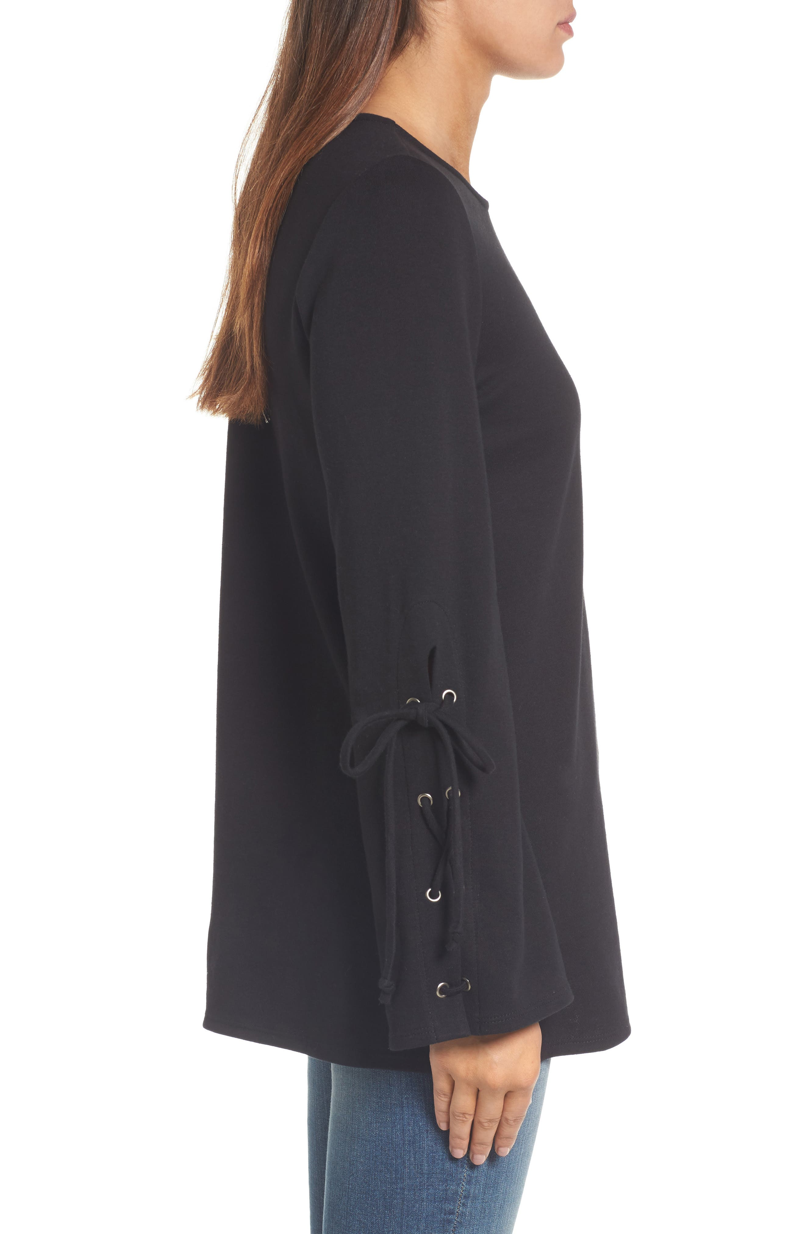 Terry Tie Sleeve Tunic,                             Alternate thumbnail 3, color,                             001