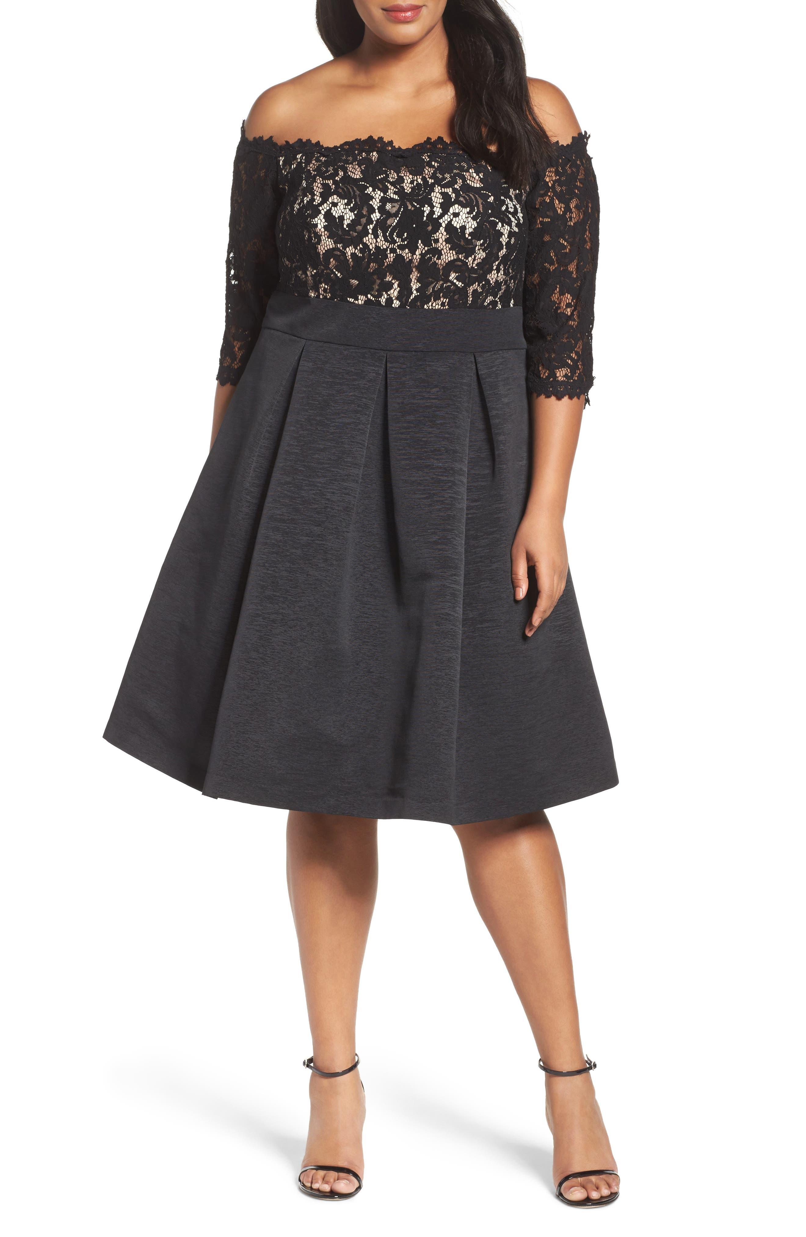 Off the Shoulder A-Line Dress,                             Main thumbnail 1, color,                             BLACK