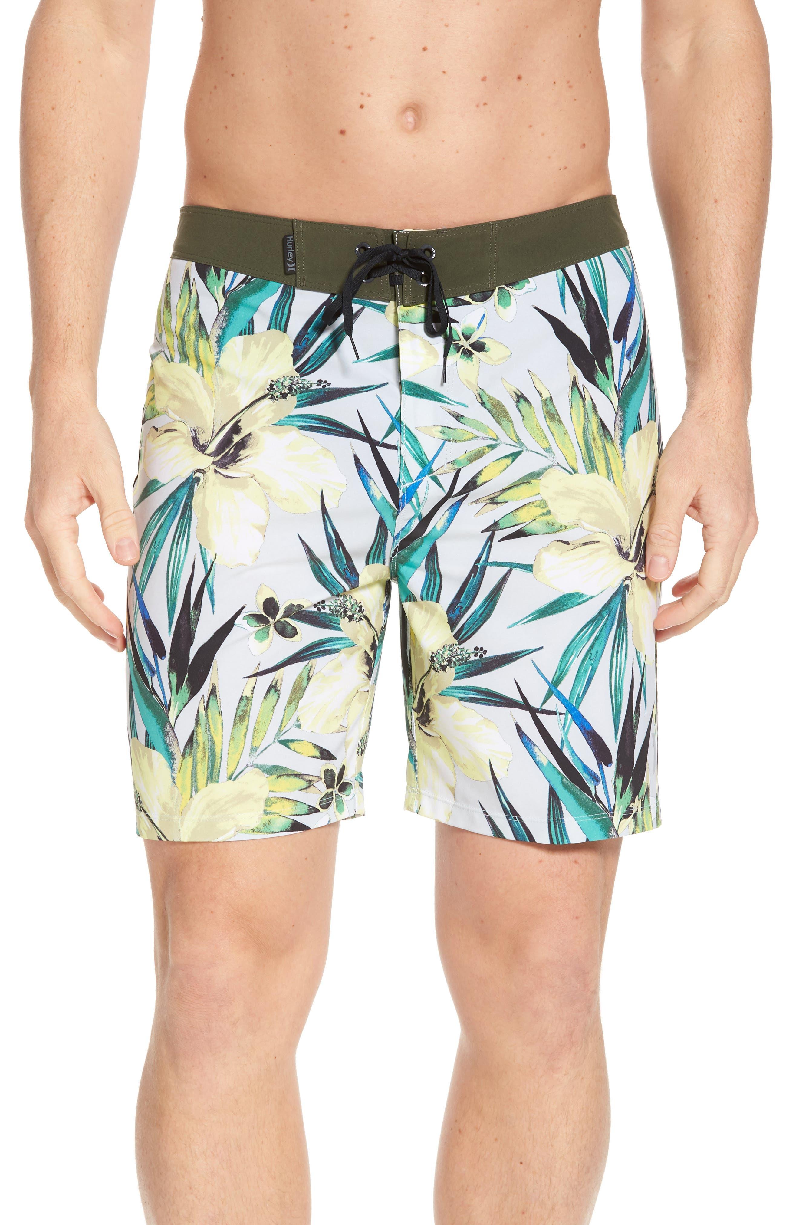 Phantom Garden Board Shorts,                         Main,                         color, PURE PLATINUM
