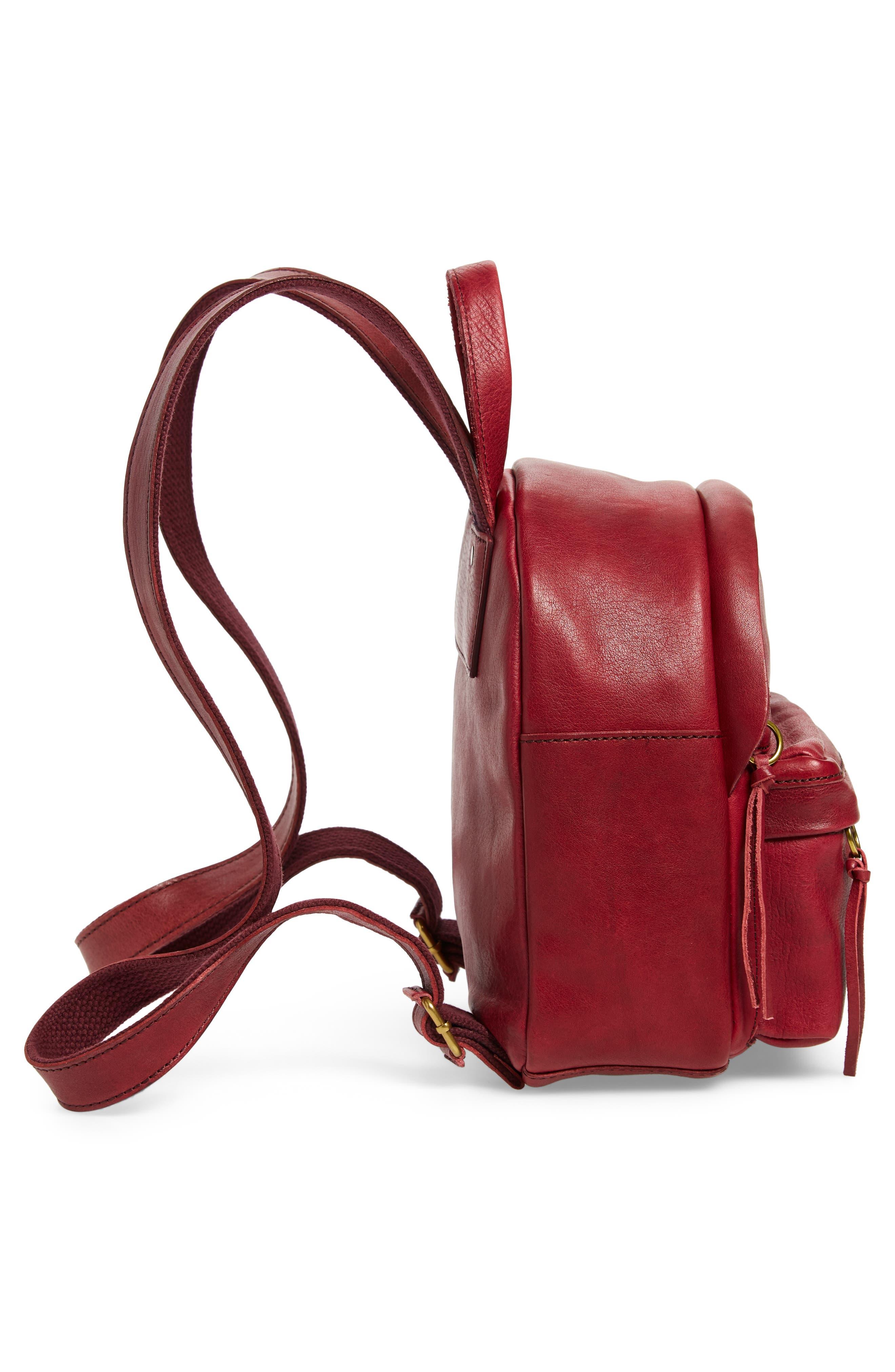 Mini Lorimer Leather Backpack,                             Alternate thumbnail 5, color,                             DARK CABERNET