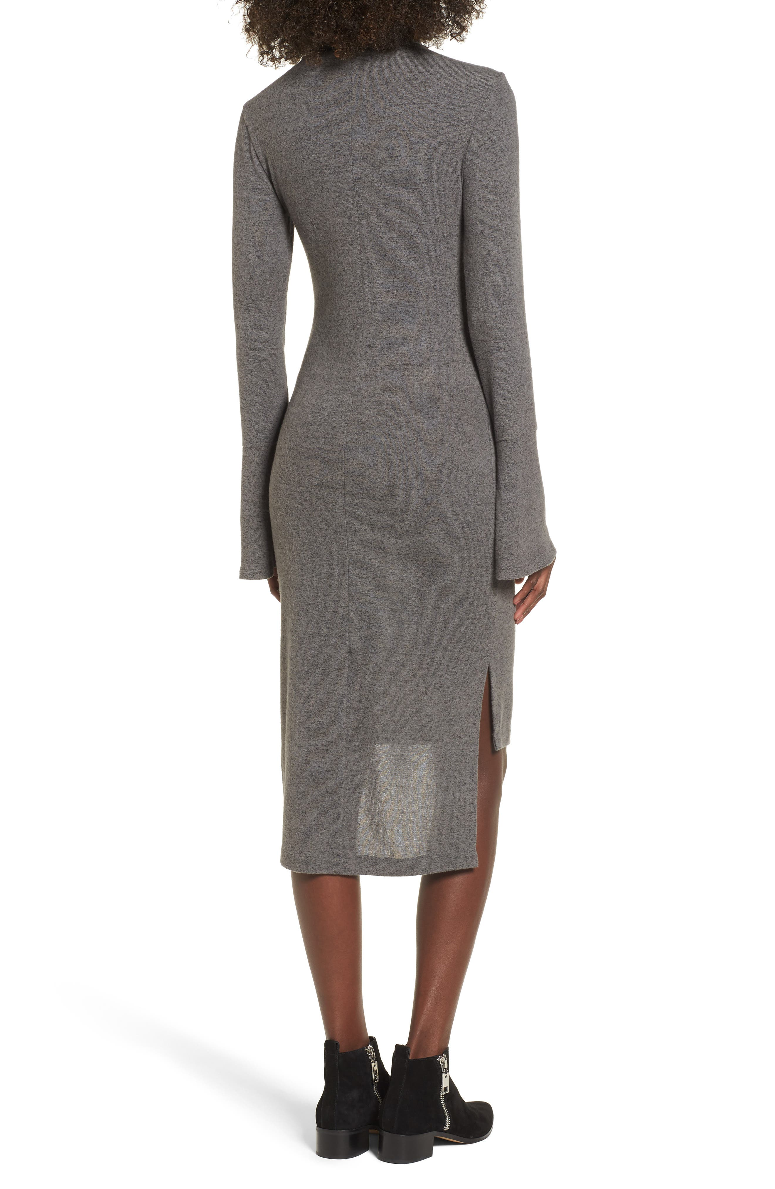 Bell Sleeve Turtleneck Midi Dress,                             Alternate thumbnail 2, color,                             020
