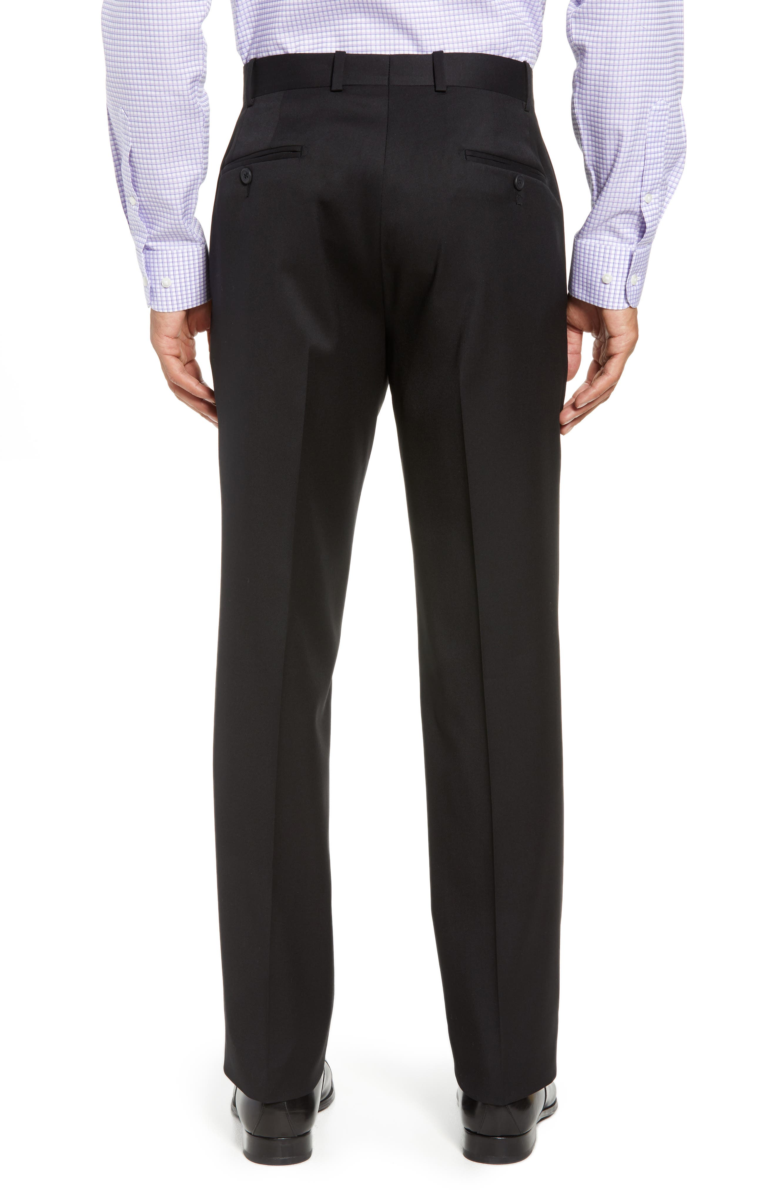 Torino Flat Front Wool Gabardine Trousers,                             Alternate thumbnail 2, color,                             001