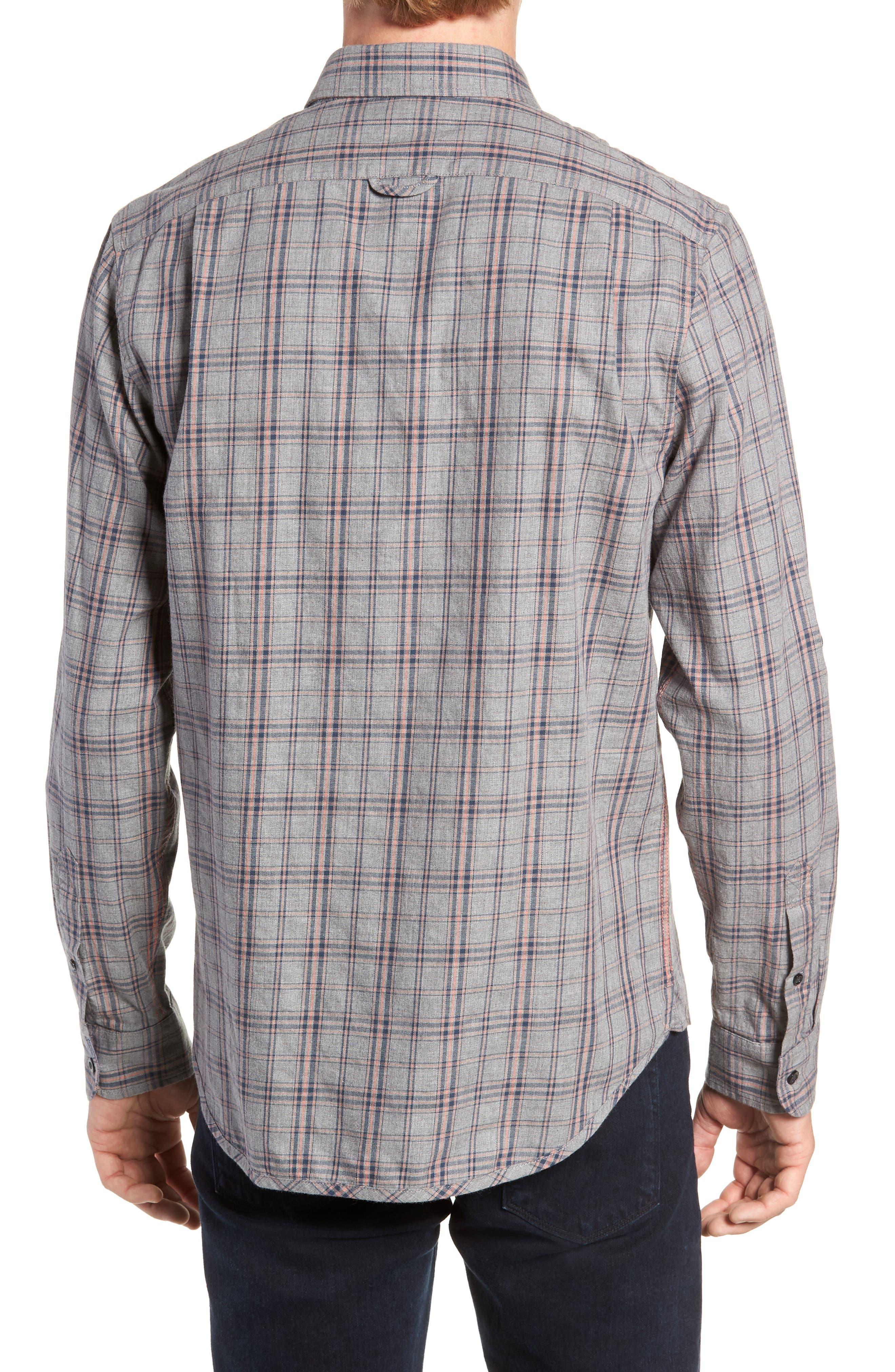 Flannel Twill Plaid Regular Fit Sport Shirt,                             Alternate thumbnail 3, color,                             CHARCOAL