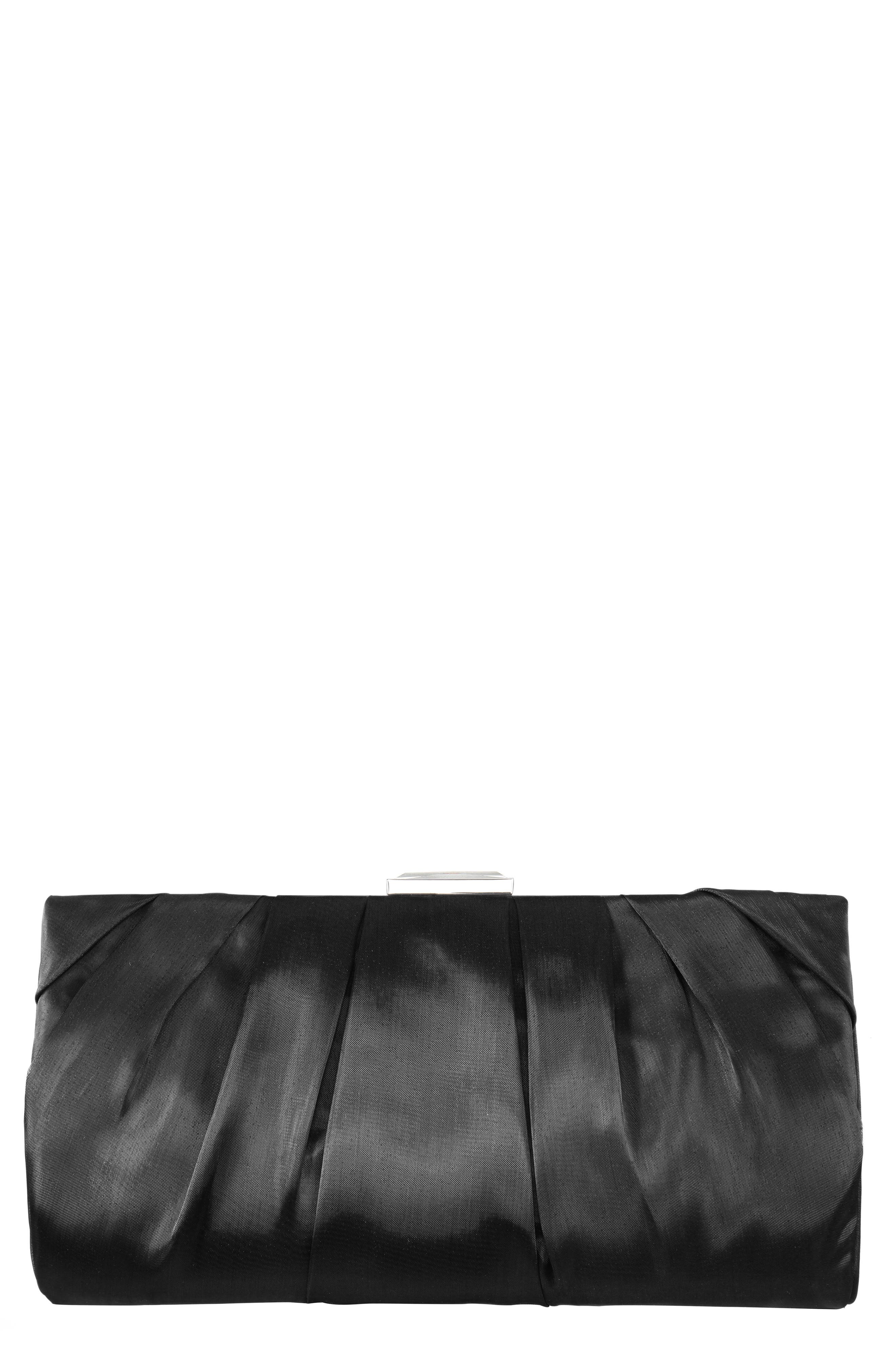 Crystal Clasp Pleated Clutch, Main, color, BLACK