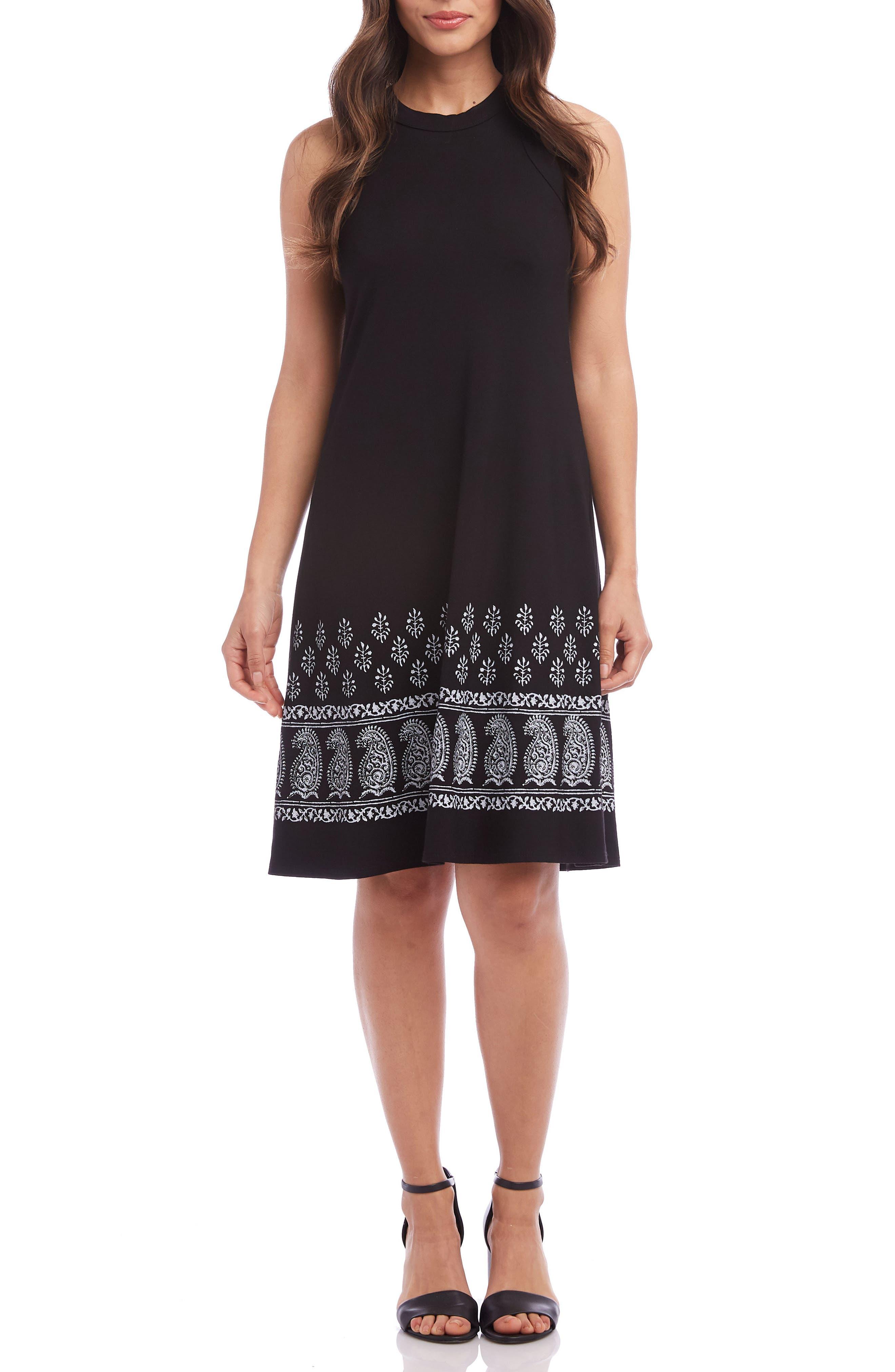 Karen Kane Embroidered A-Line Dress, Black