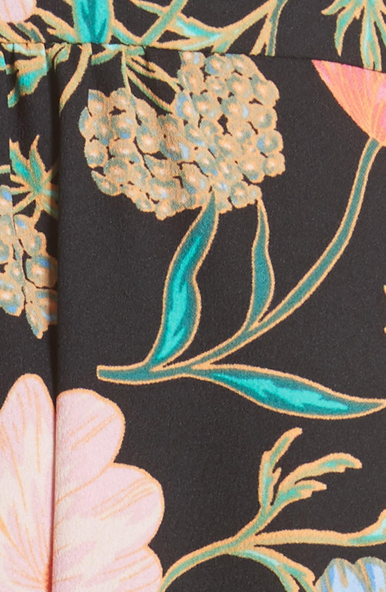 blossom print fluid shirtdress,                             Alternate thumbnail 5, color,                             001