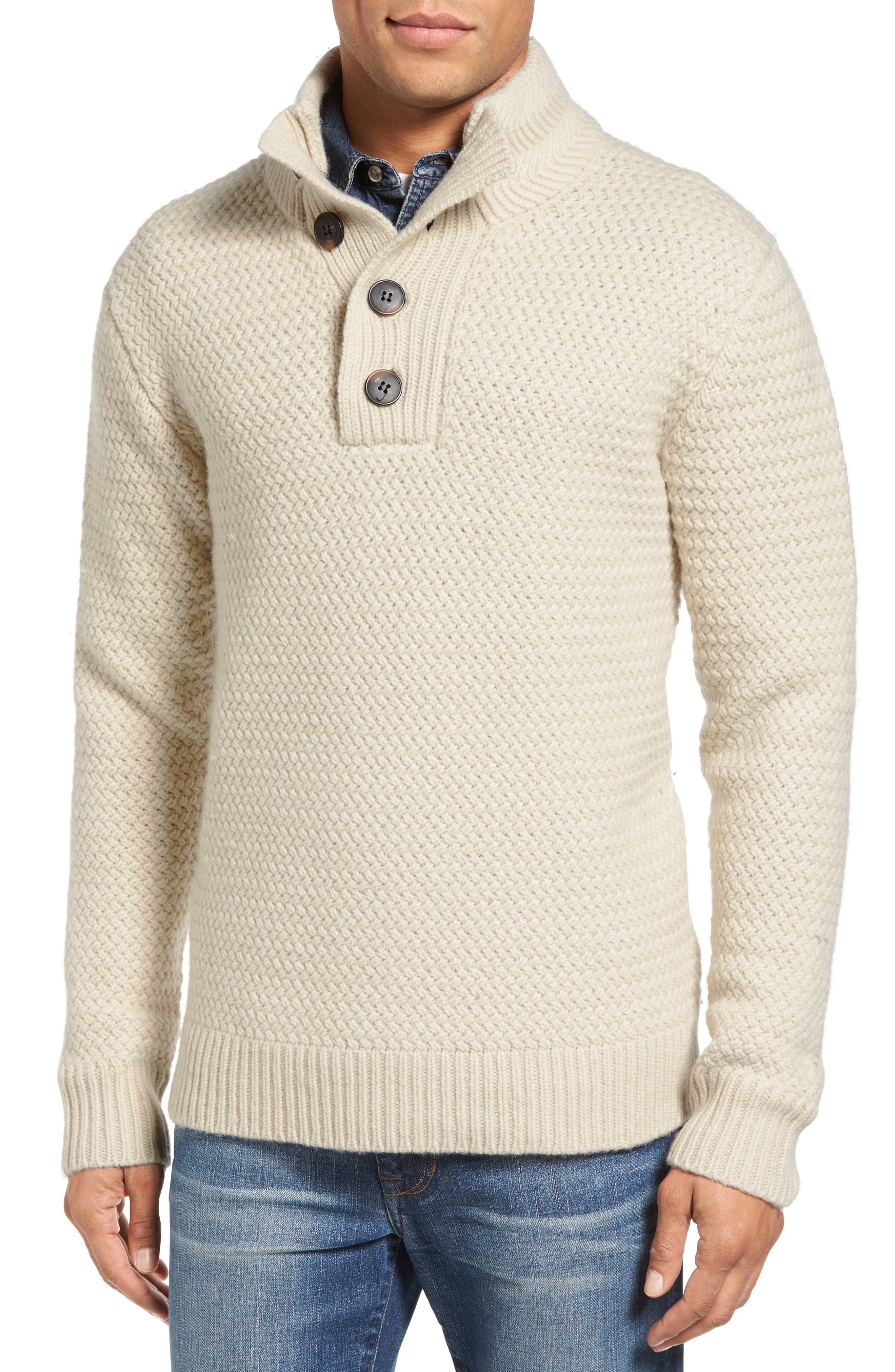 Edwardian Men's Shirts & Sweaters Mens Schott Nyc Military Henley Sweater Size XX-Large - White $125.00 AT vintagedancer.com