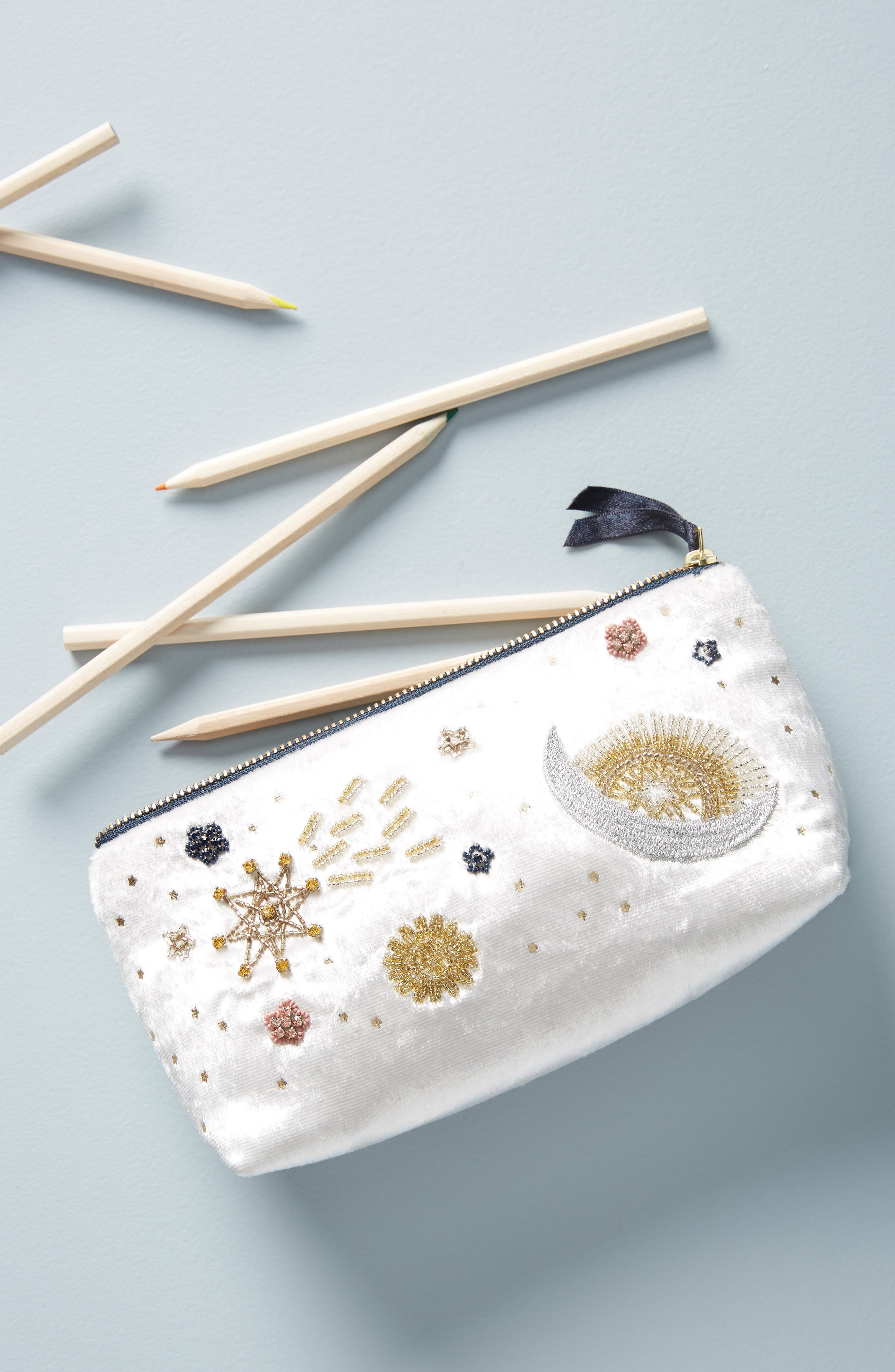Claire Embellished Pencil Pouch,                         Main,                         color, IVORY