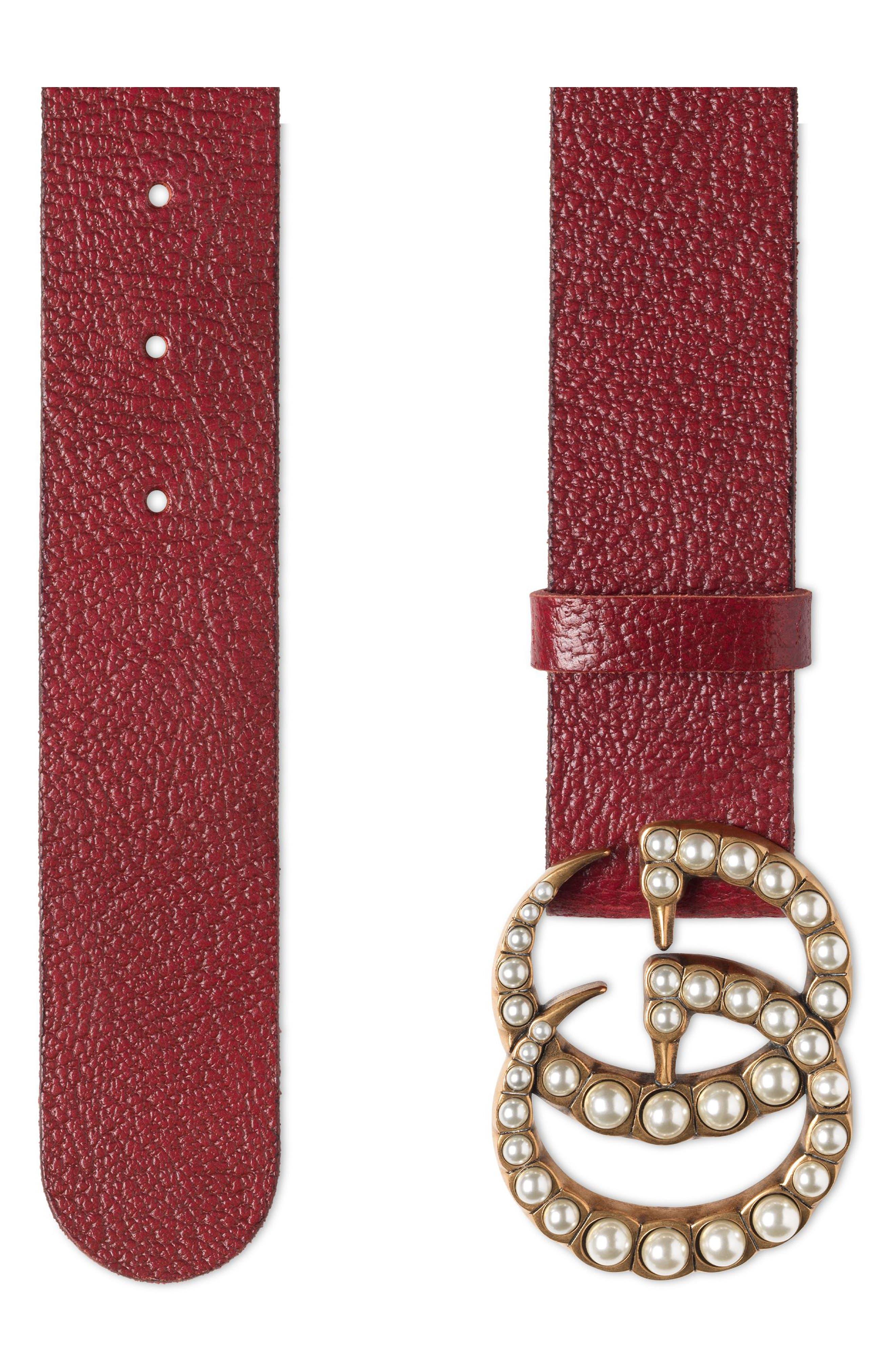 Imitation Pearl Double-G Leather Belt,                             Alternate thumbnail 3, color,                             600