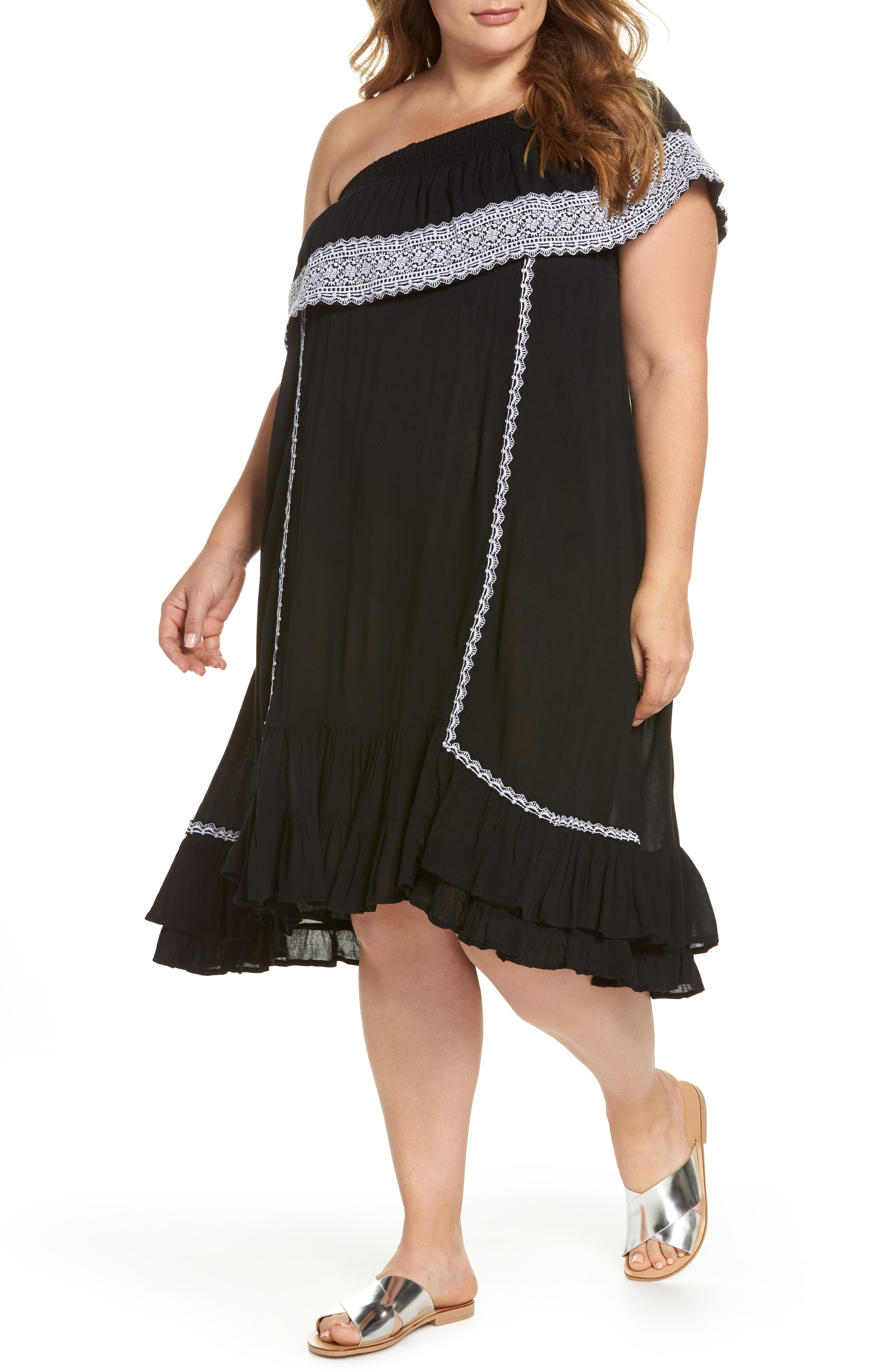 Gavin One-Shoulder Cover-Up Dress,                             Main thumbnail 1, color,                             002