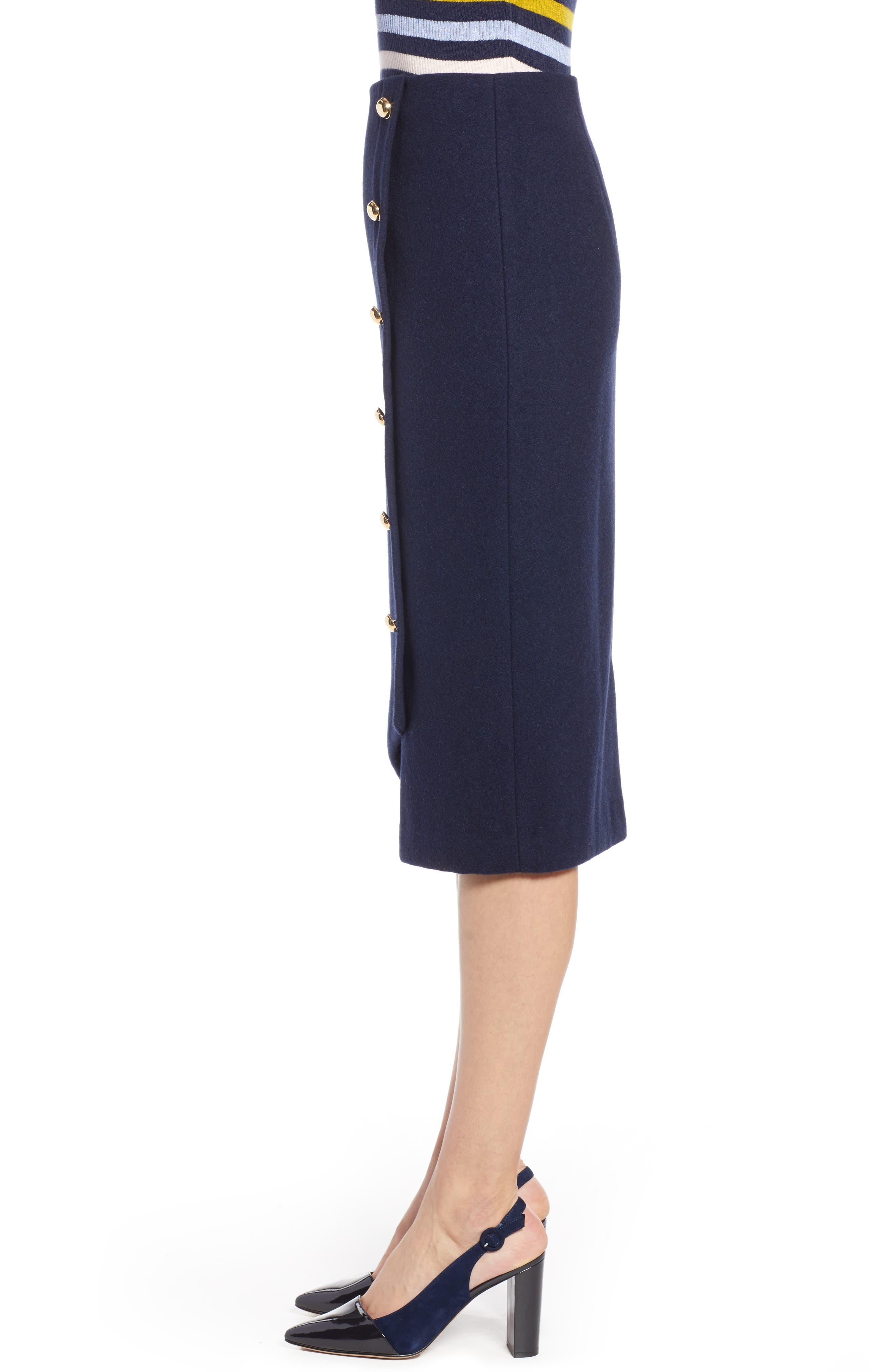 x Atlantic-Pacific Wrap Pencil Skirt,                             Alternate thumbnail 3, color,                             NAVY BLAZER