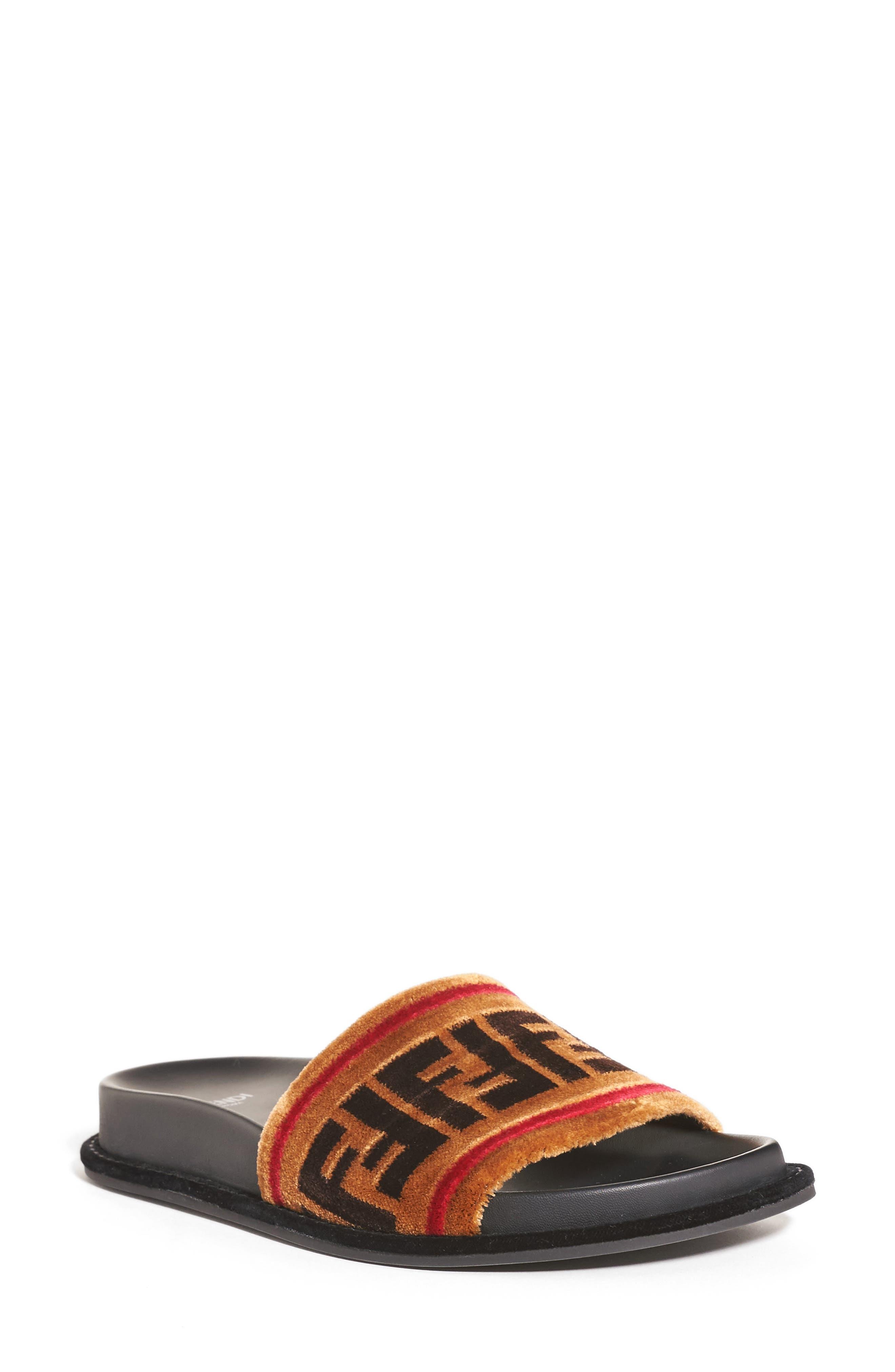 Logo Slide Sandal,                             Main thumbnail 1, color,                             TAN VELVET
