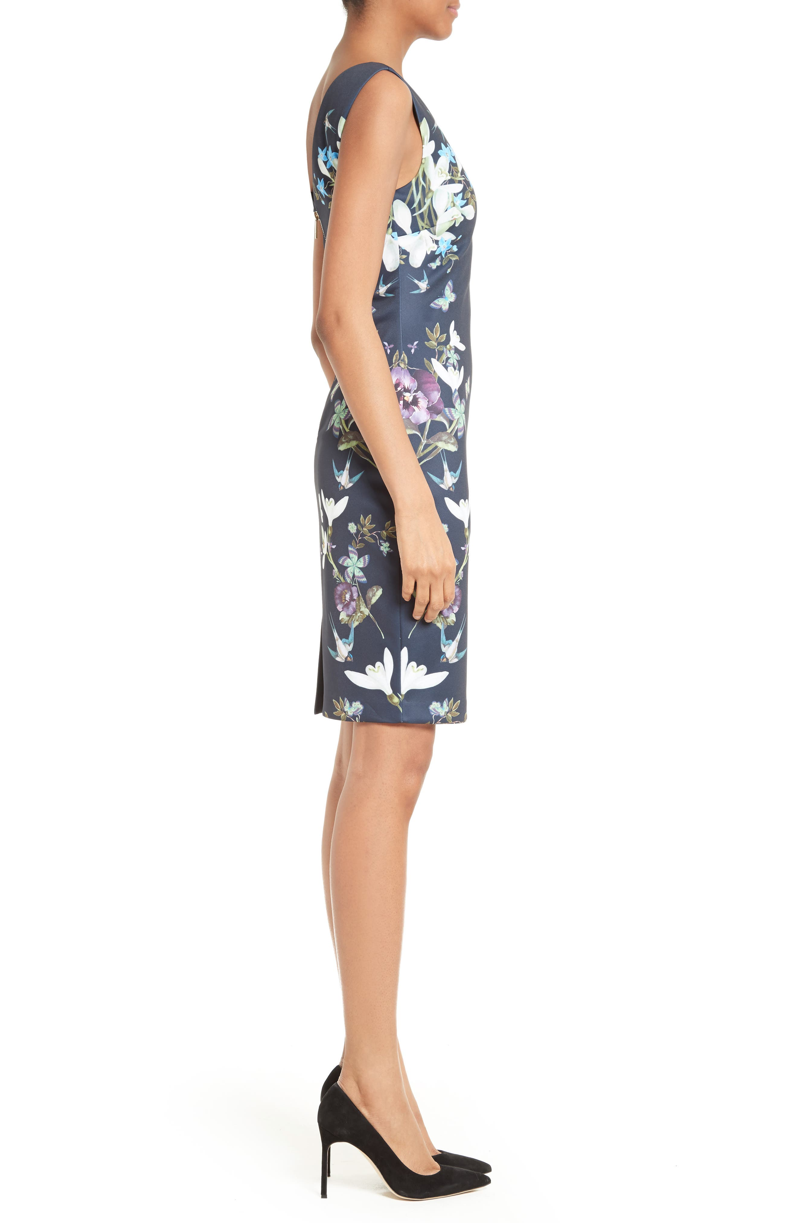Katiey Placed Print Sheath Dress,                             Alternate thumbnail 3, color,                             402