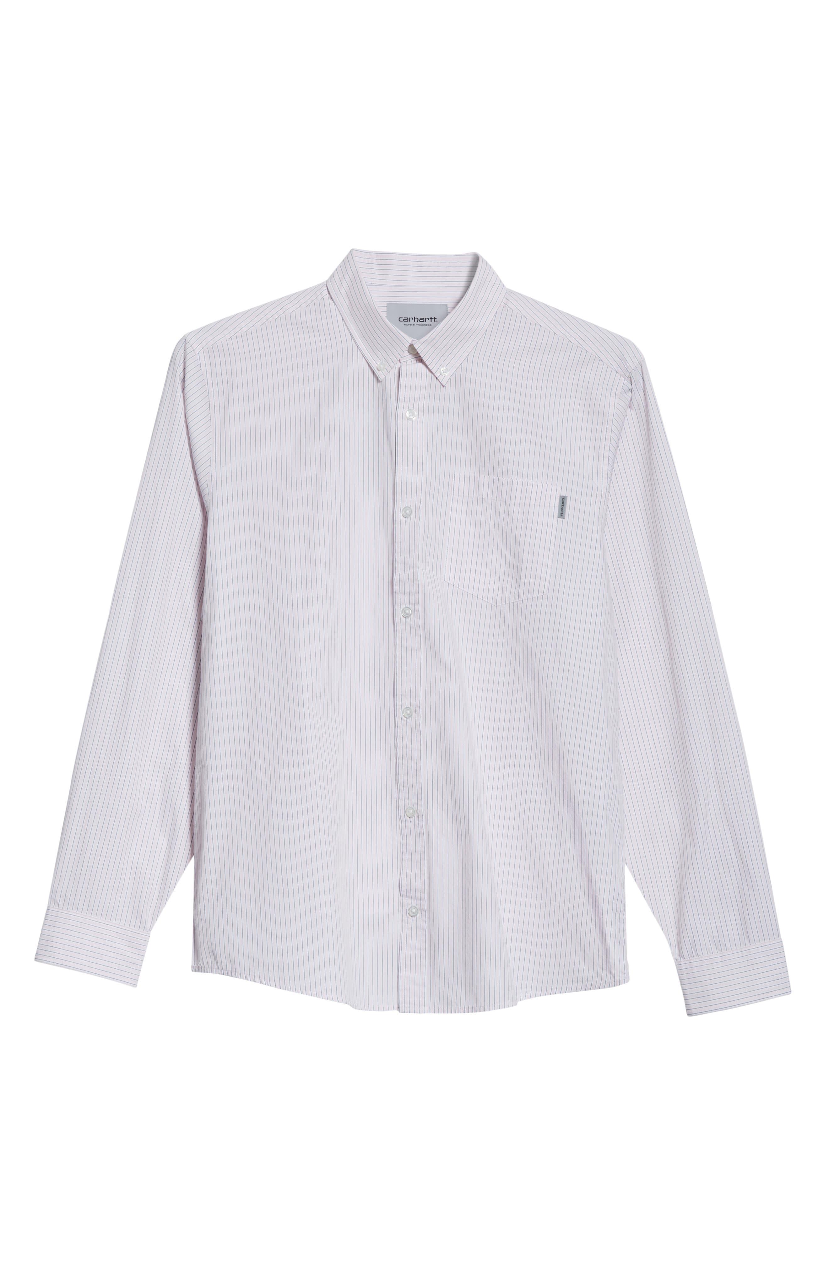 Crane Stripe Woven Shirt,                             Alternate thumbnail 6, color,                             630