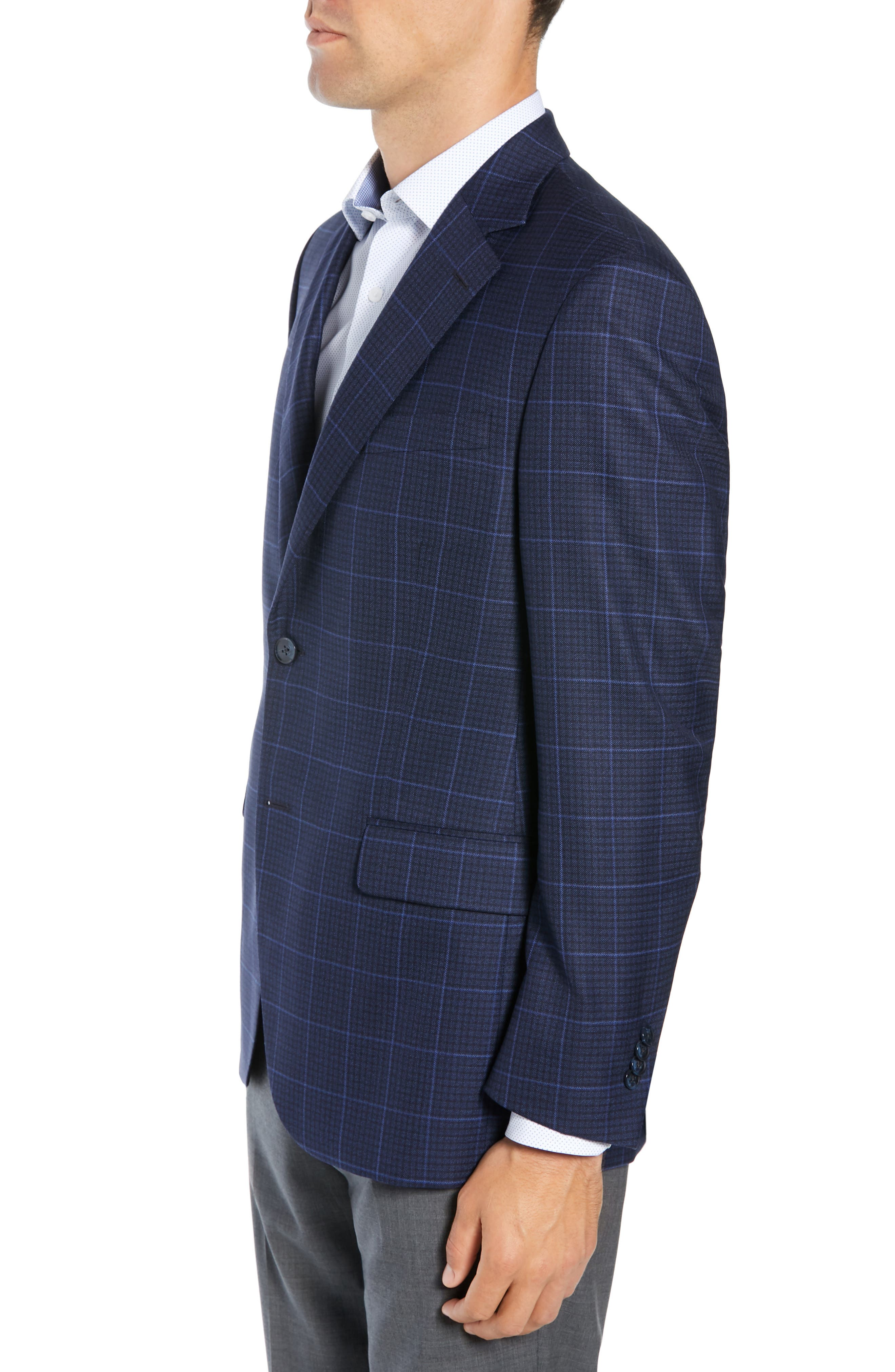 Flynn Classic Fit Plaid Check Sport Coat,                             Alternate thumbnail 3, color,                             NAVY