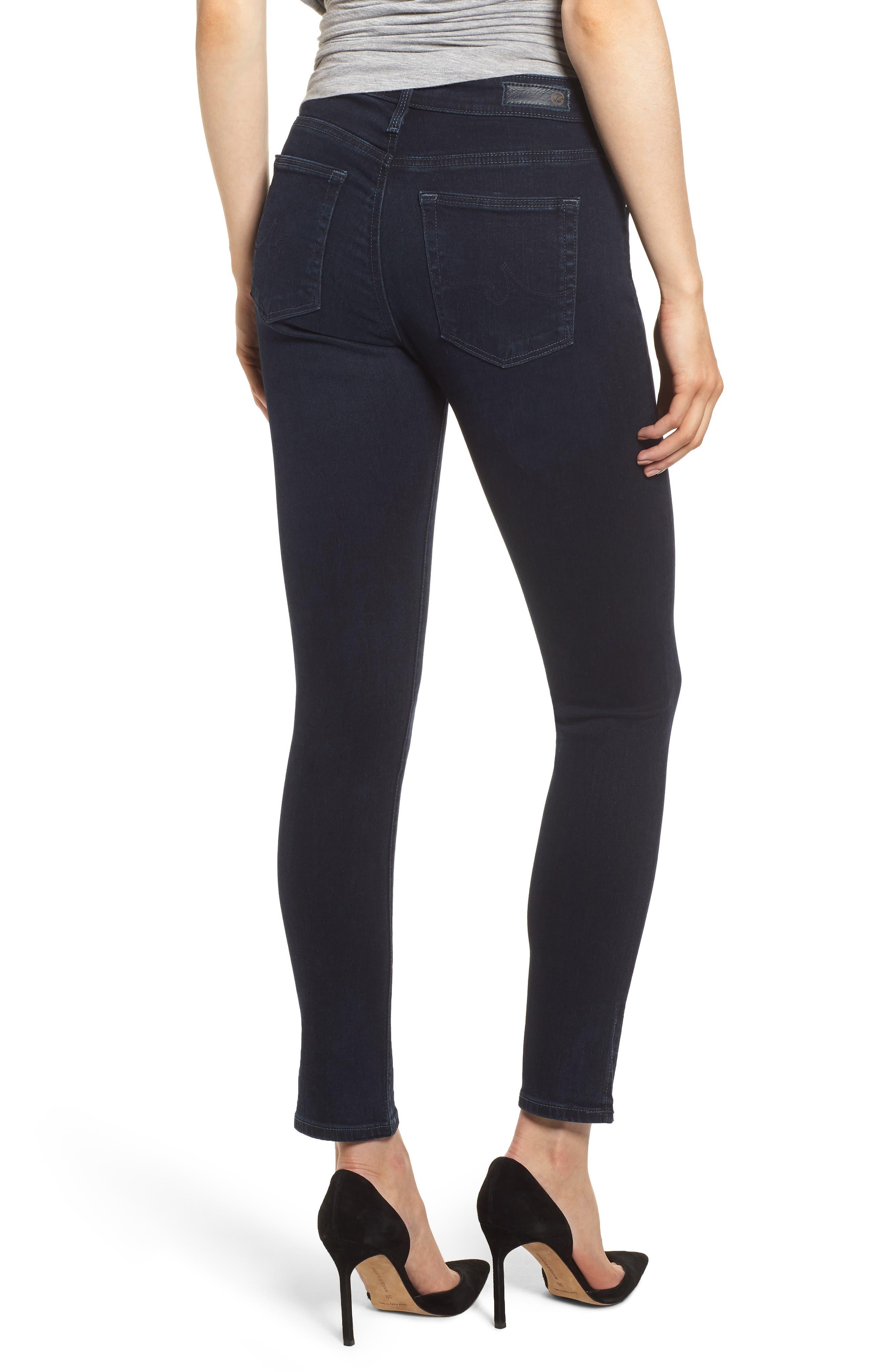 Farrah High Waist Split Hem Skinny Jeans,                             Alternate thumbnail 2, color,                             YARD BIRD