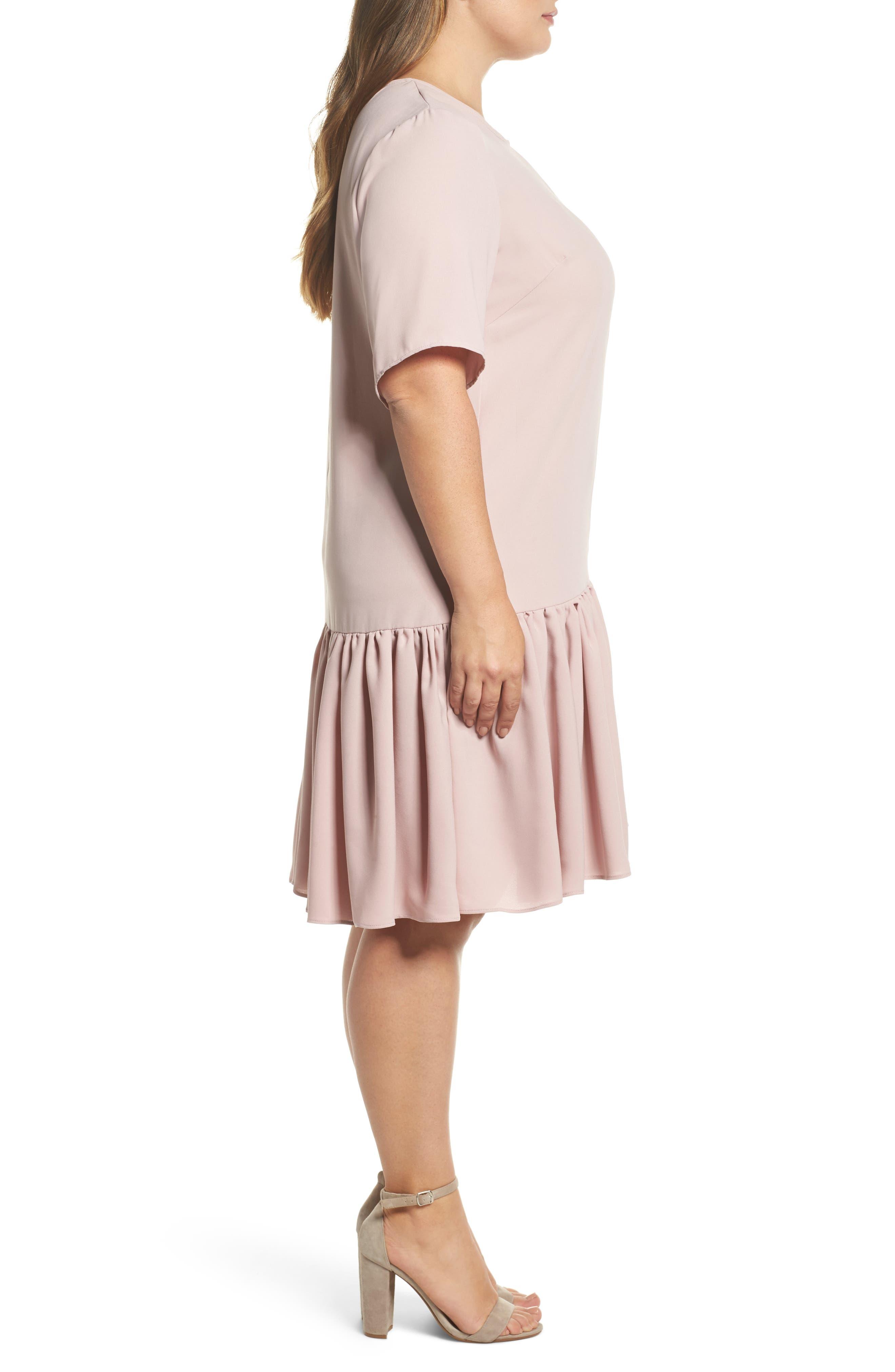 Asymmetrical Ruffle Shift Dress,                             Alternate thumbnail 3, color,                             660