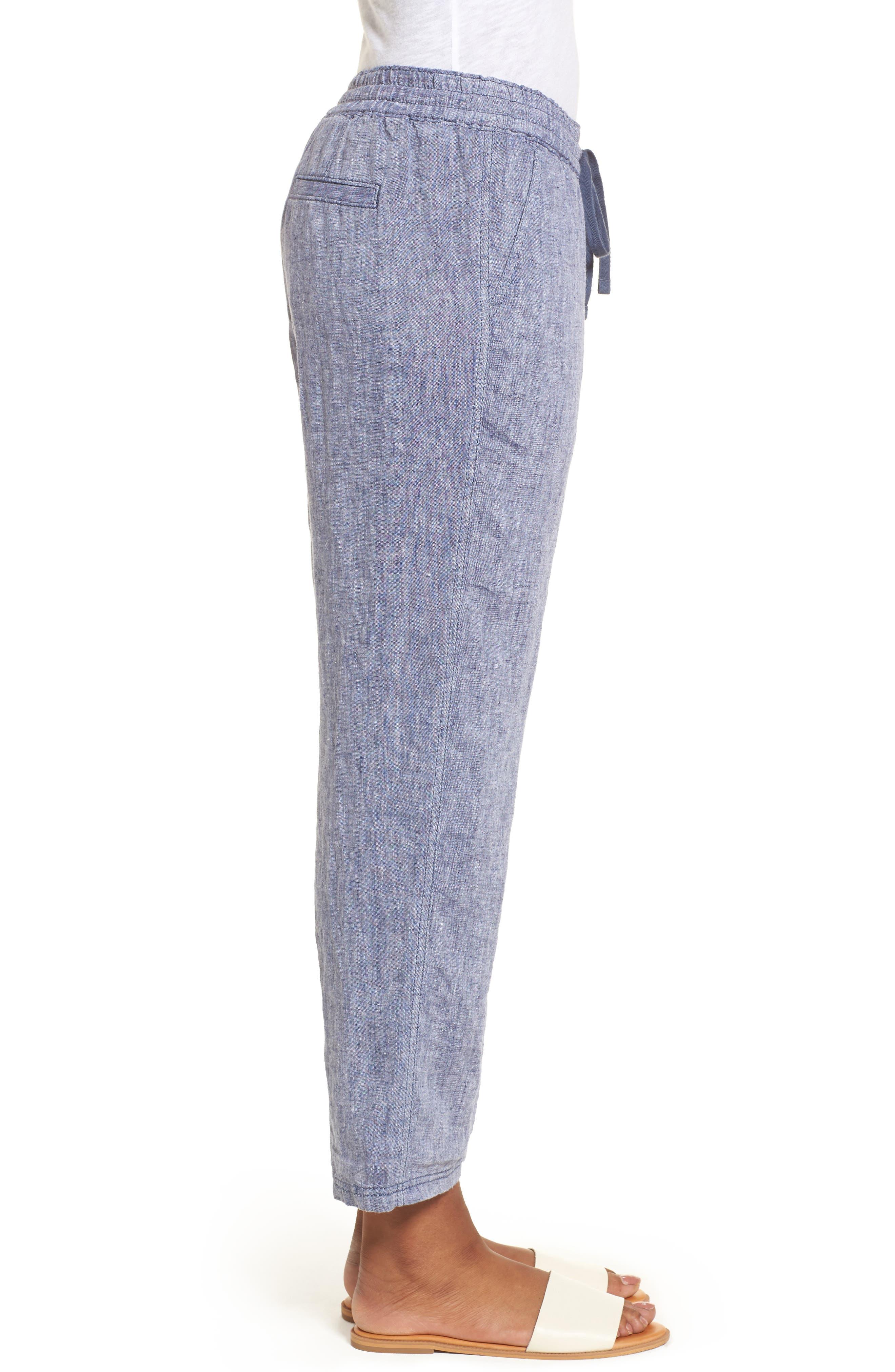 Linen Crop Pants,                             Alternate thumbnail 3, color,                             411