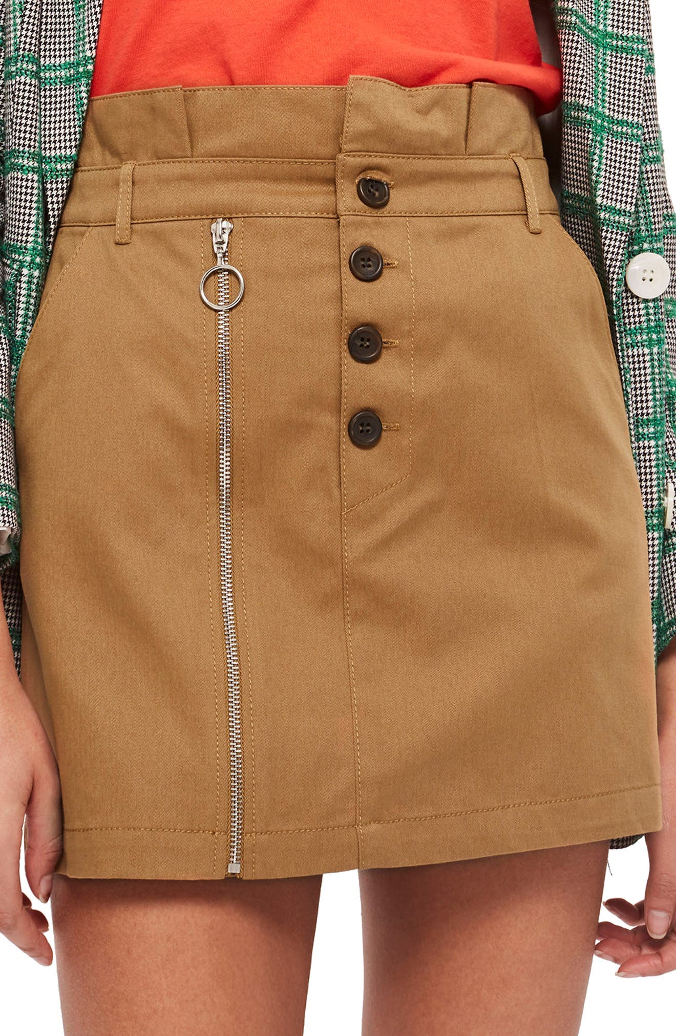 Utility Button Miniskirt,                             Main thumbnail 1, color,                             252
