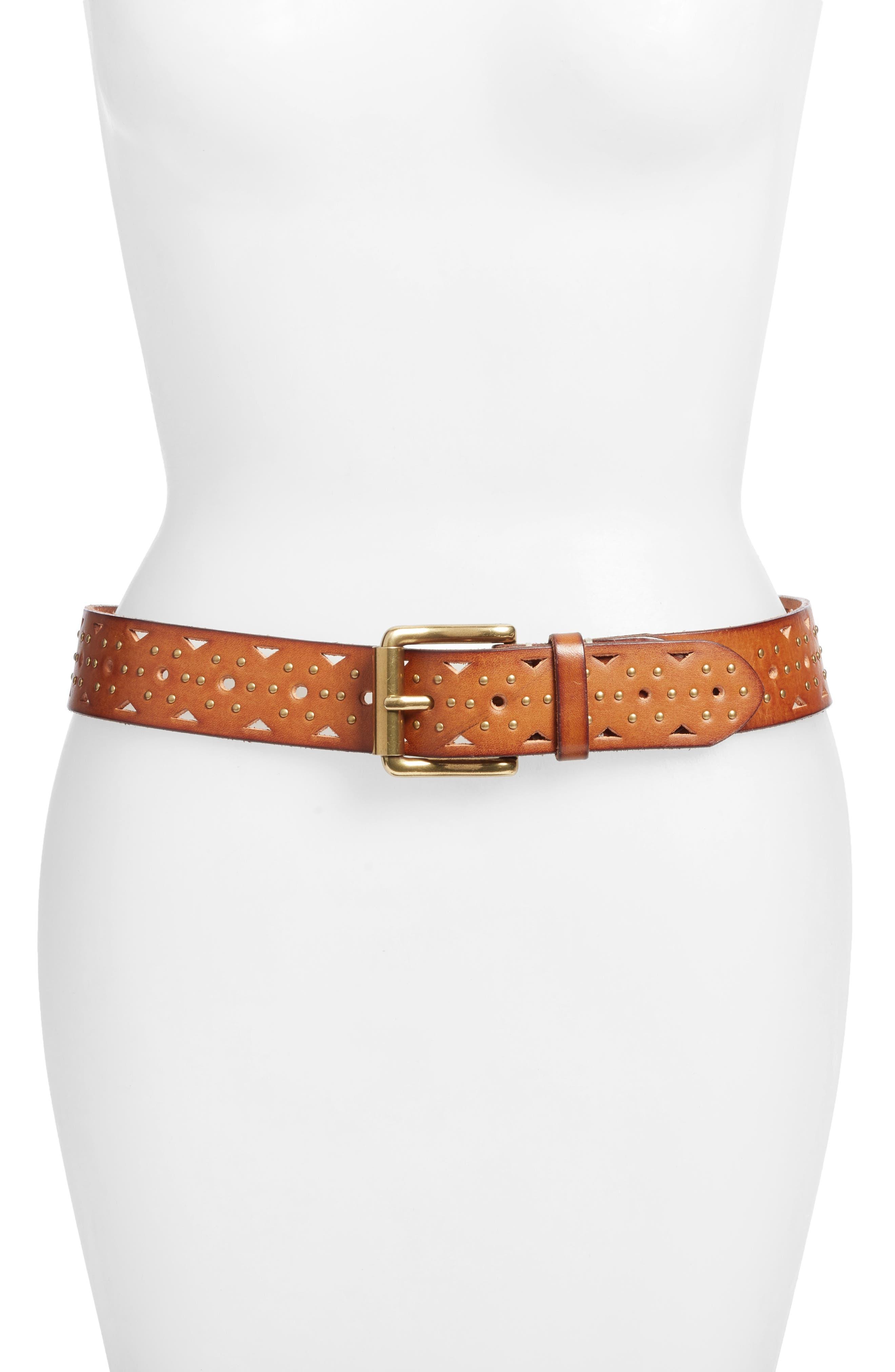 Addison Studded Leather Belt,                             Main thumbnail 2, color,
