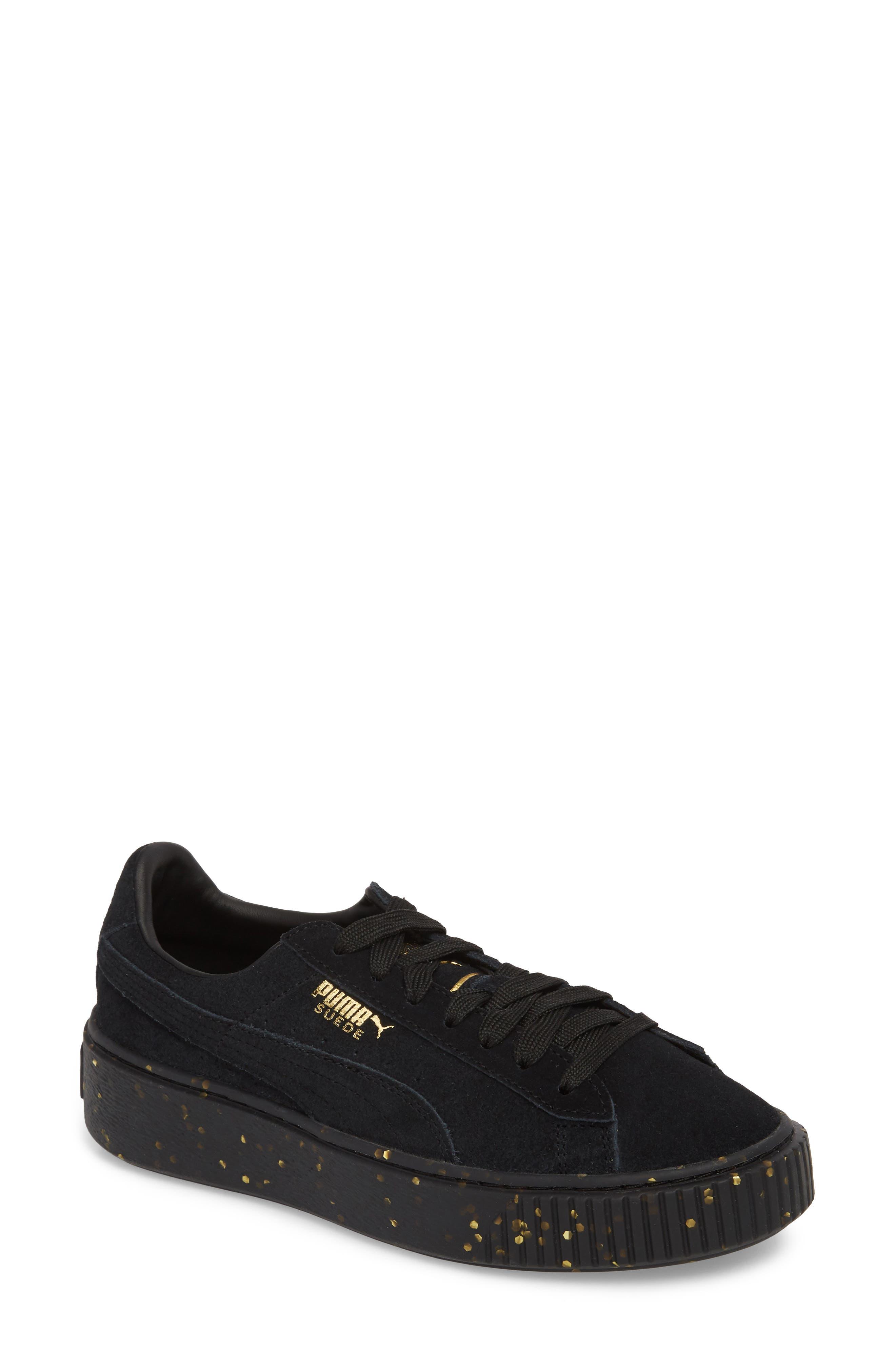 Suede Platform Sneaker,                             Main thumbnail 1, color,                             001