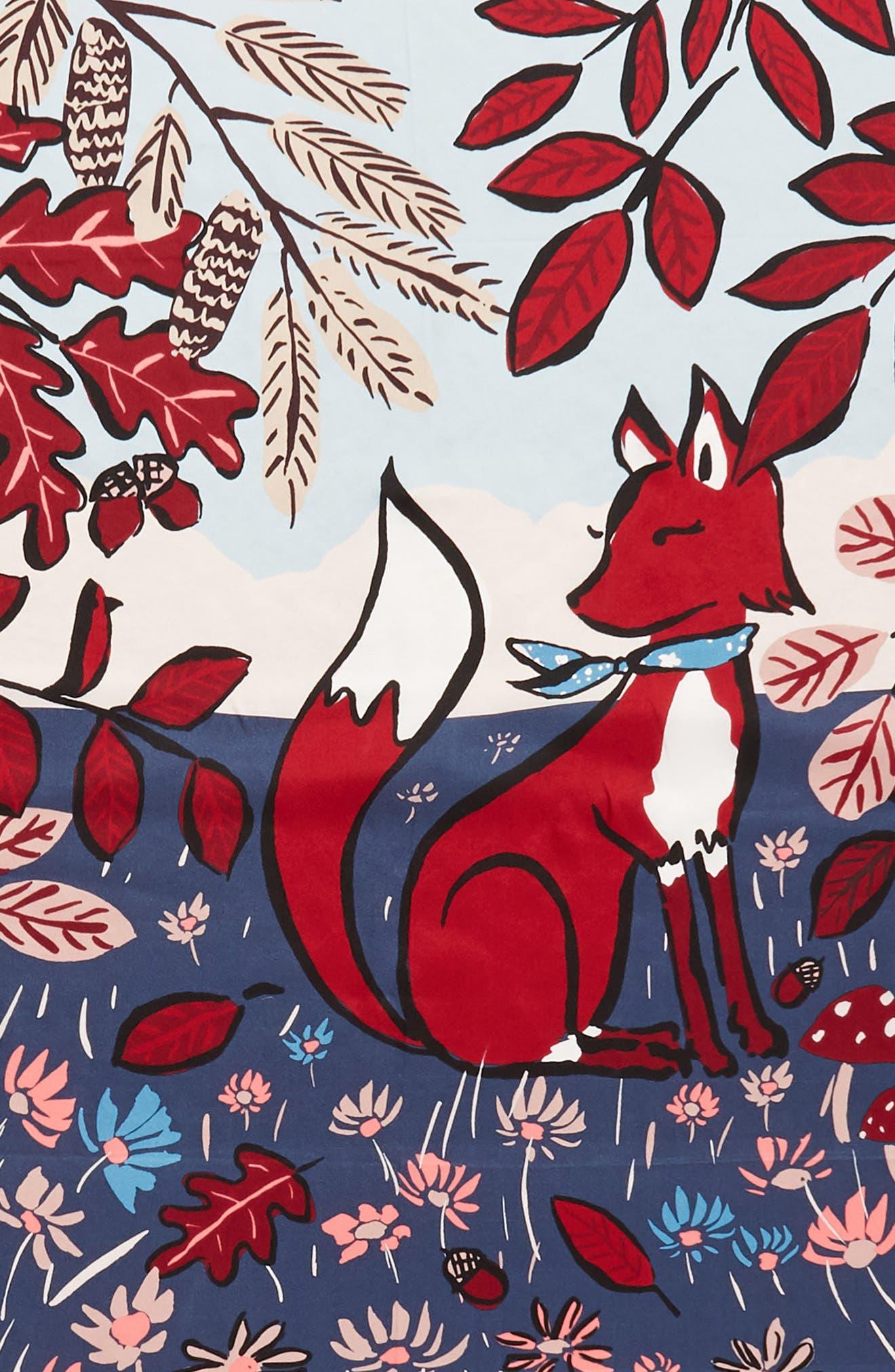 fox scene square silk scarf,                             Alternate thumbnail 4, color,                             001