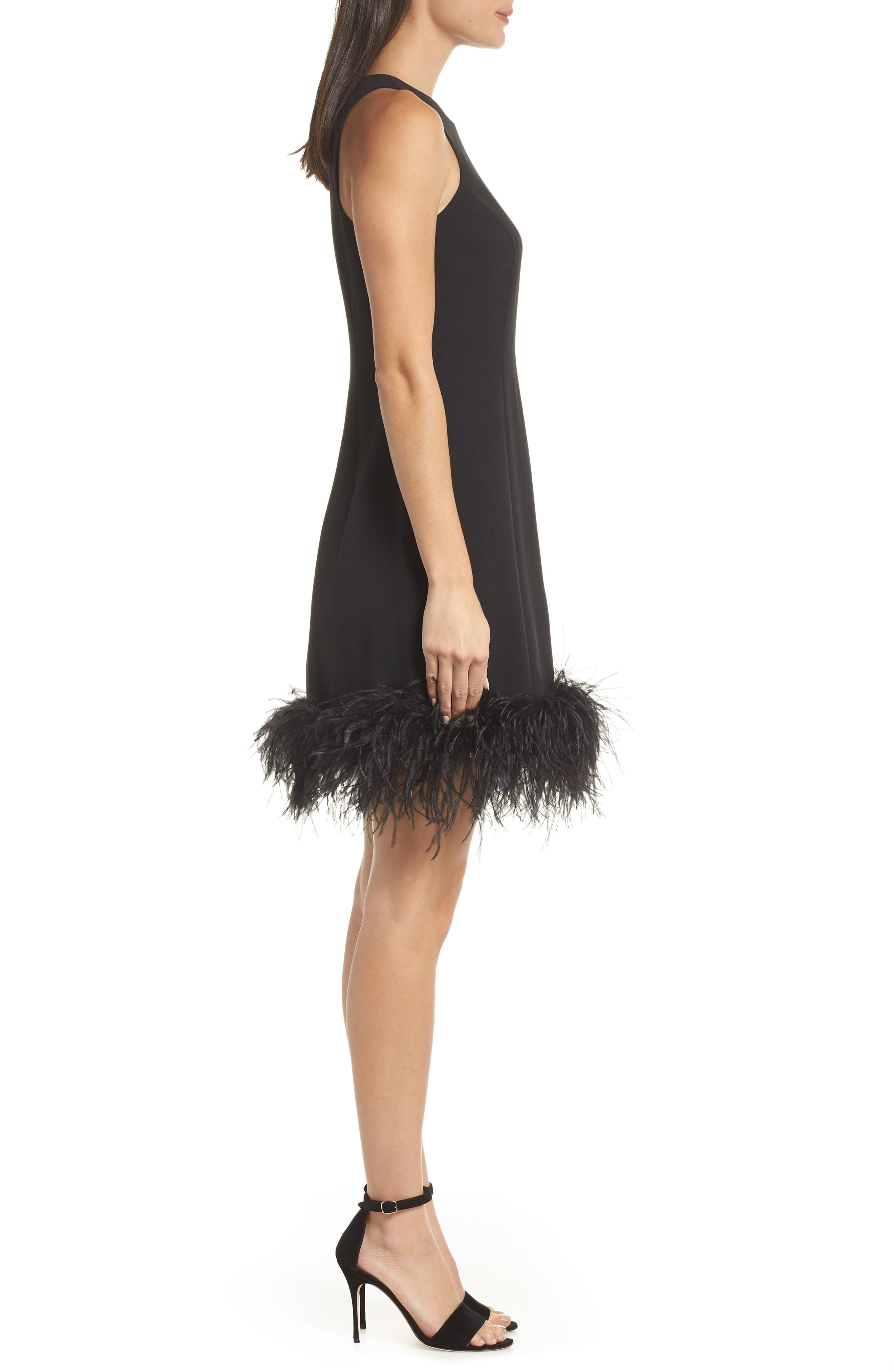 Feather Hem Sheath Dress,                             Alternate thumbnail 3, color,                             BLACK